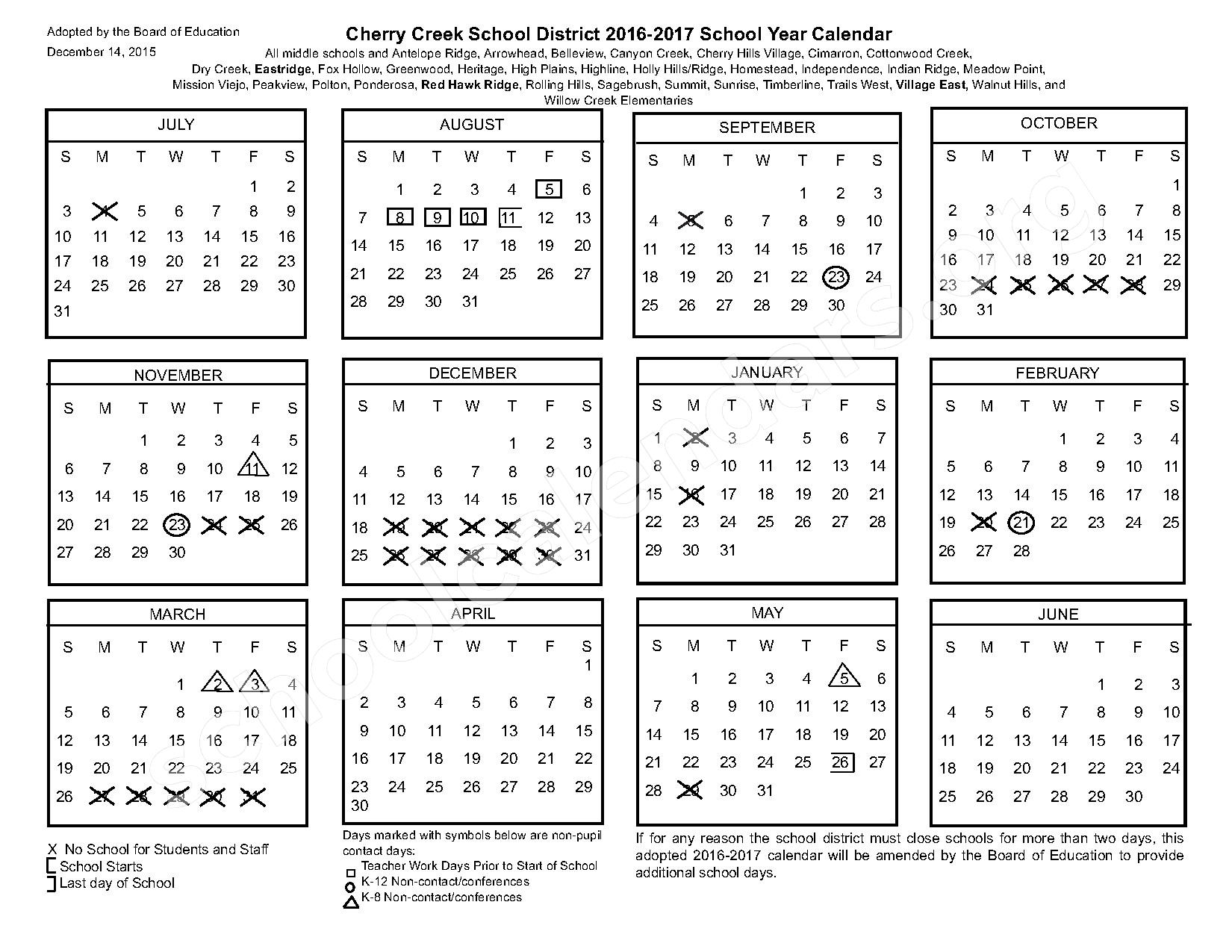2016 - 2017 Common Calendar – Cherry Creek School District – page 1