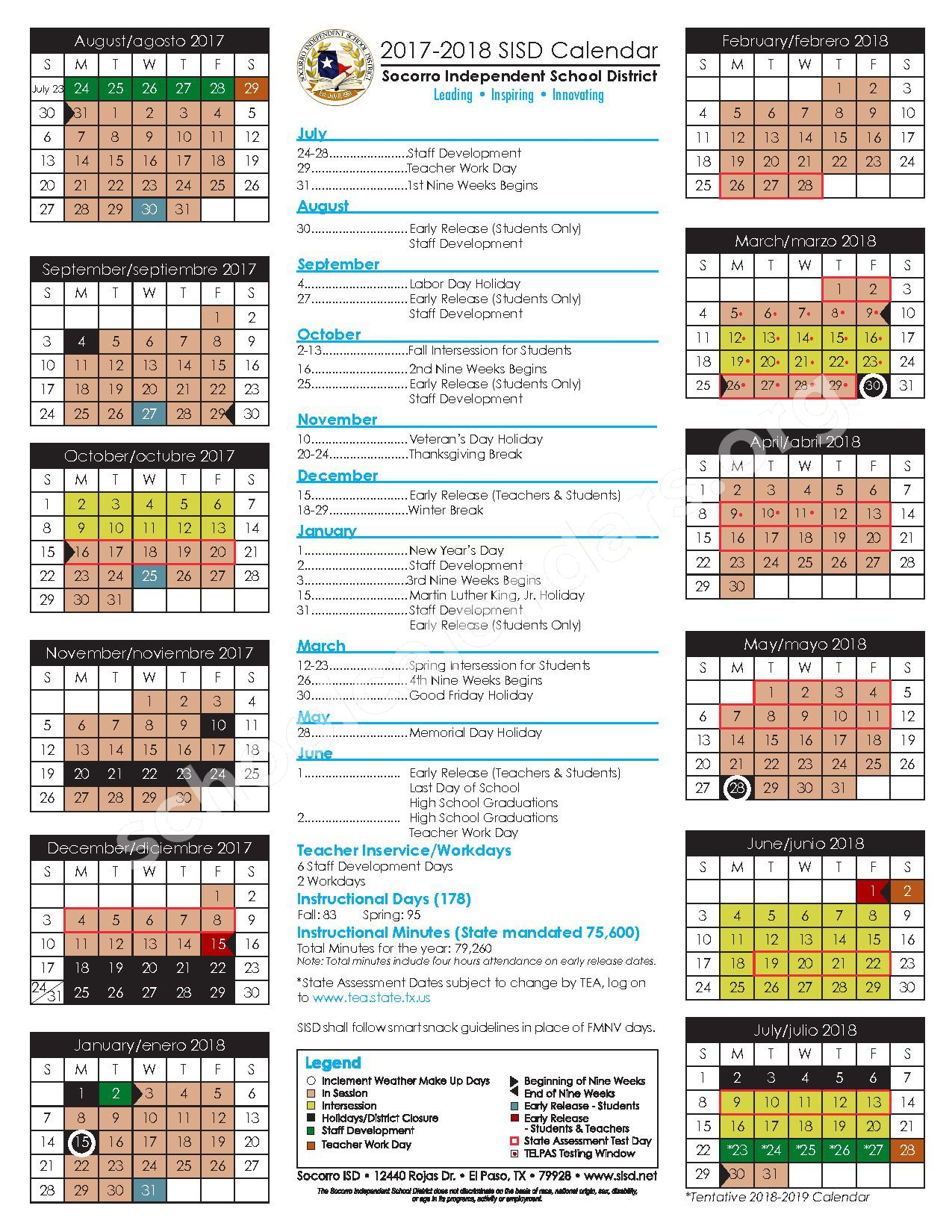 2017 - 2018 Student Calendar – Socorro Independent School District – page 1