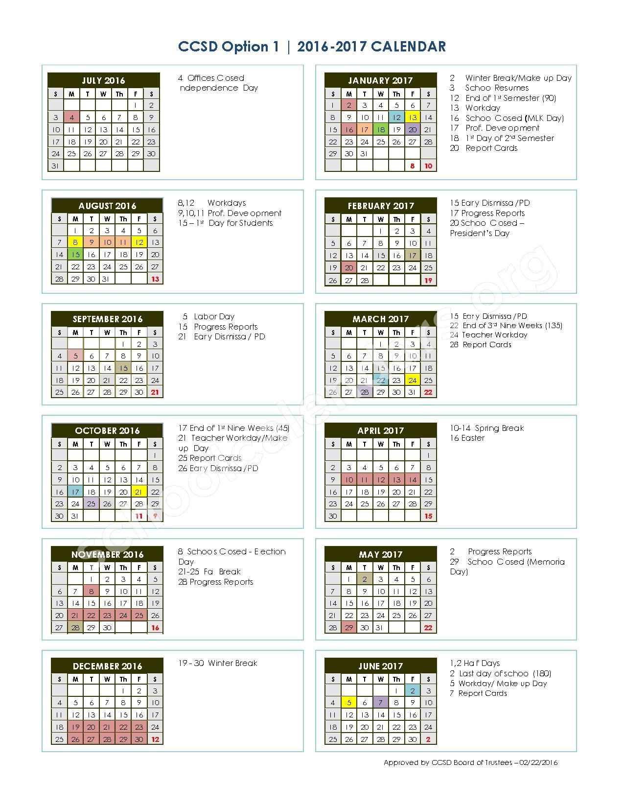 2016 - 2017 School Calendar – Charleston County School District  – page 1