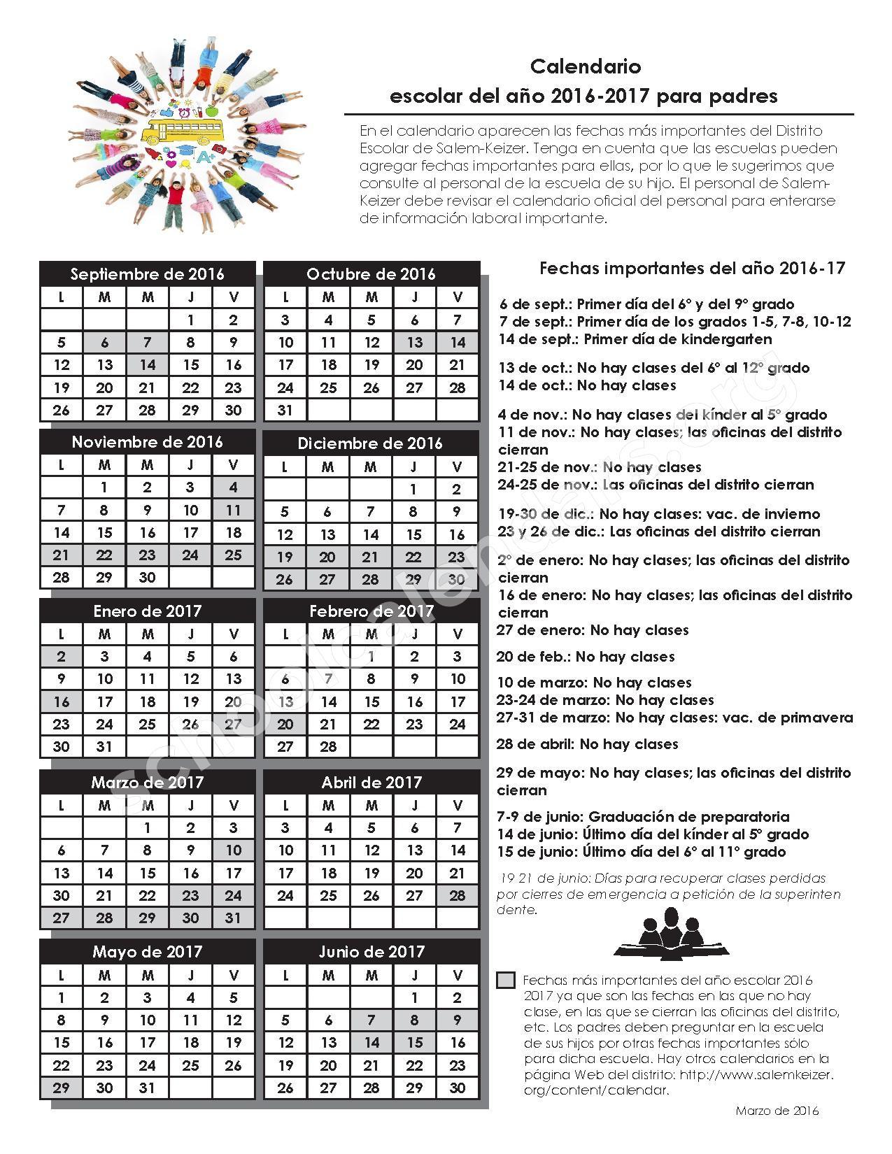 2016 - 2017 Calendario Escolar – Salem-Keizer Public Schools – page 1