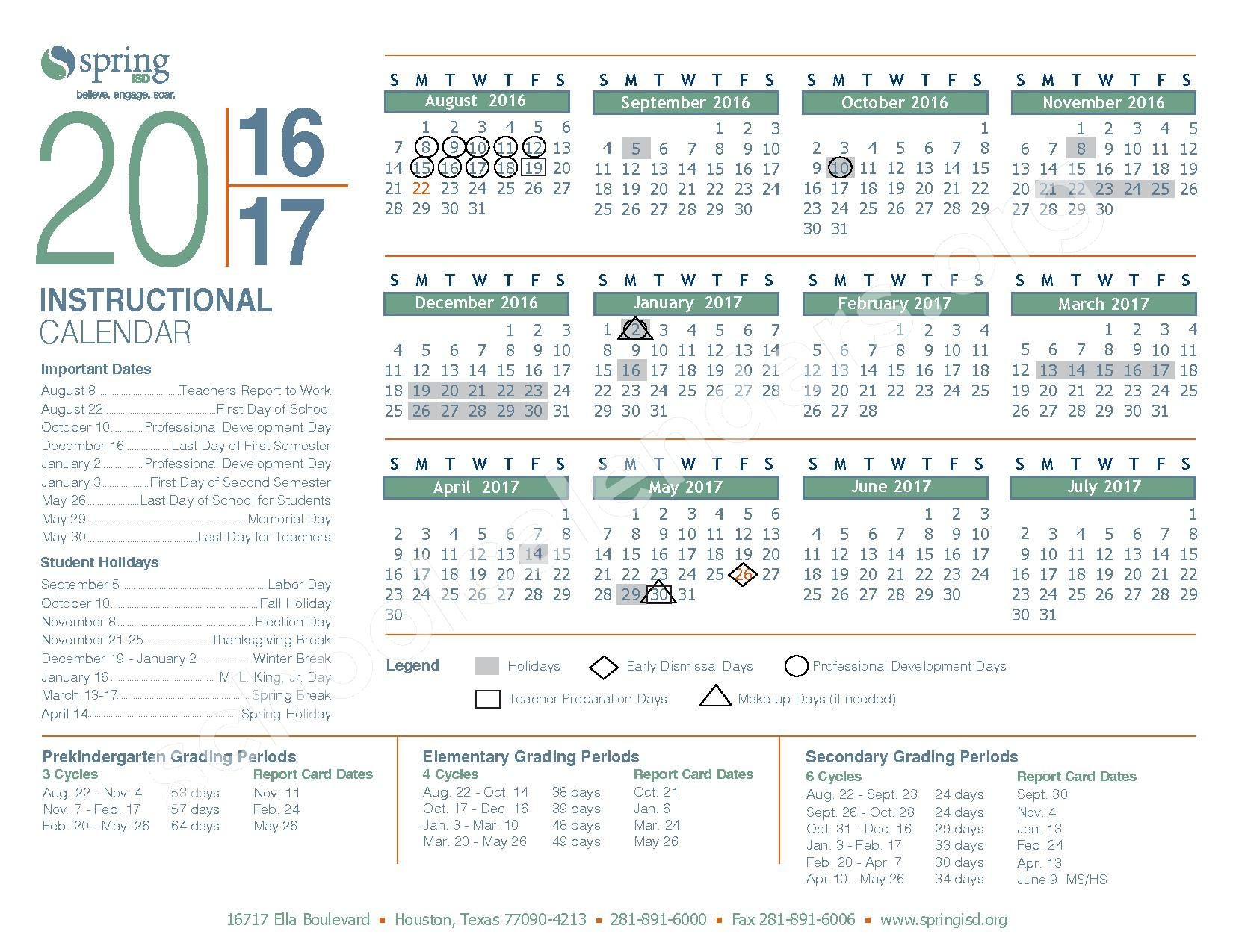 2016-17 District Calendar – Spring Independent School District – page 1