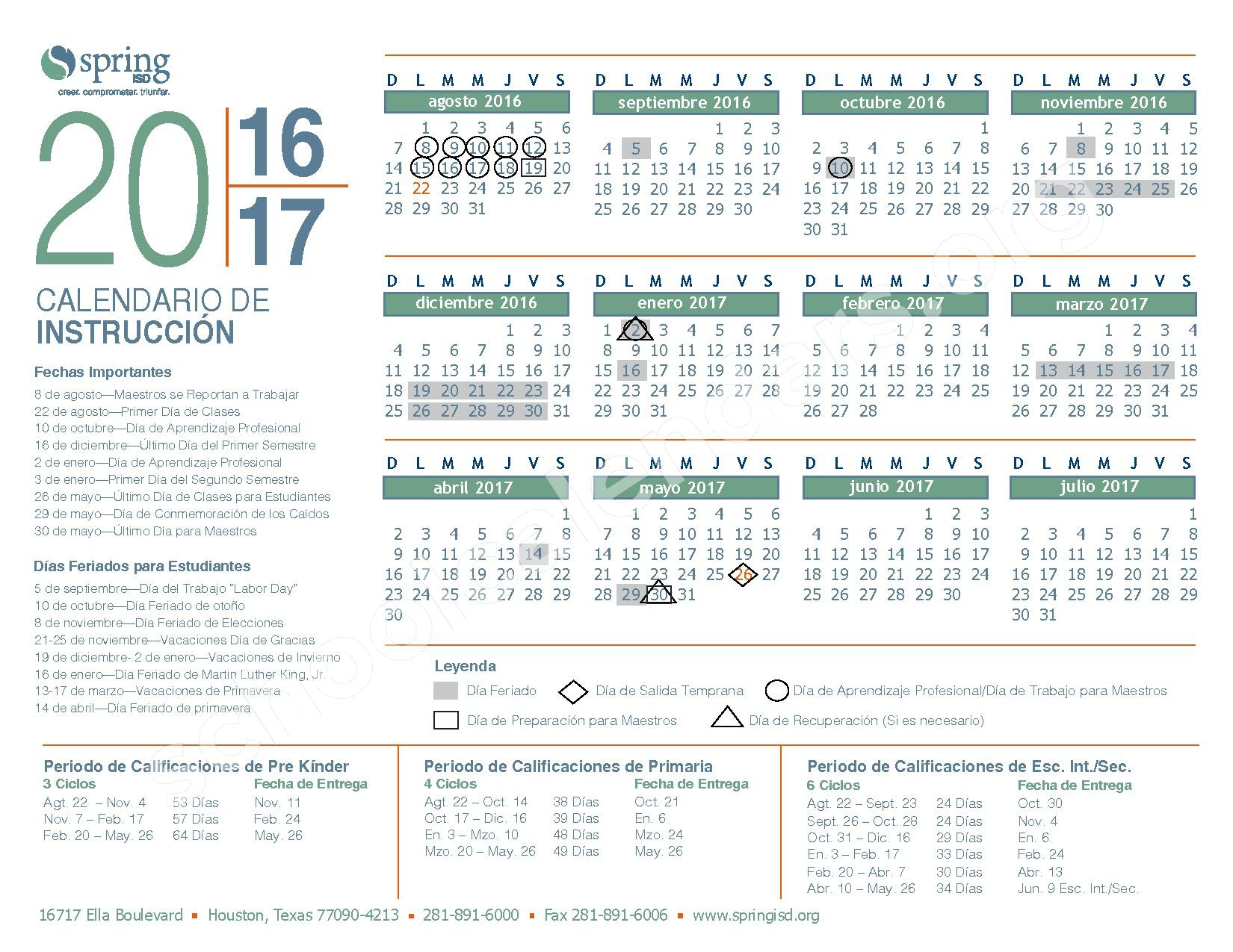 2016 - 2017  District Calendar – Spring Independent School District – page 1