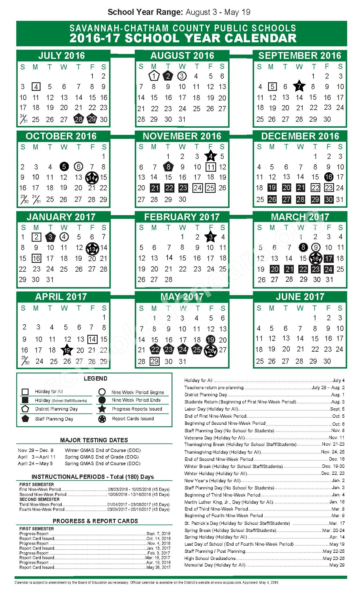 2016 - 2017 District Calendar – Largo-Tibet Elementary School – page 1