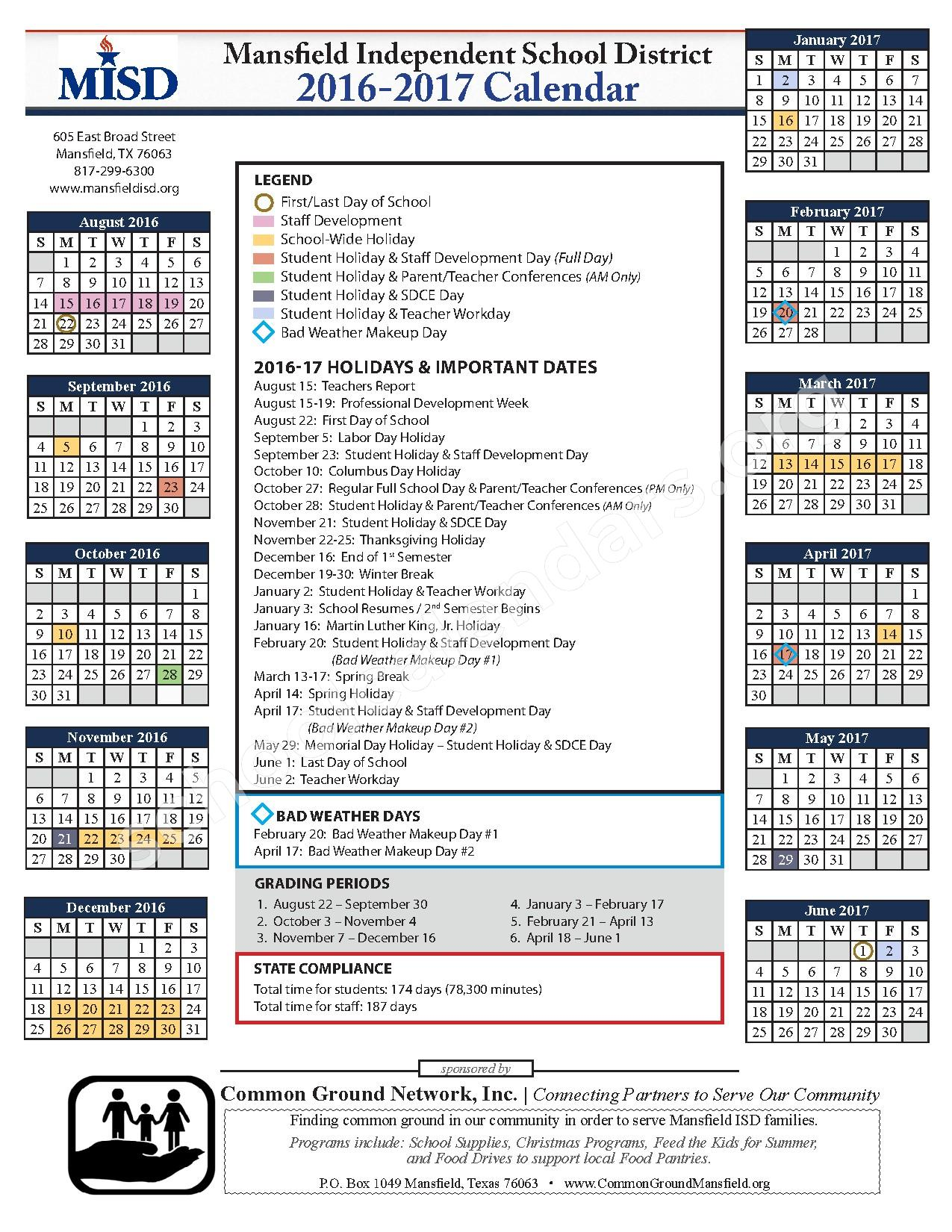 2016 - 2017 District Calendar – Mansfield Independent School District – page 1