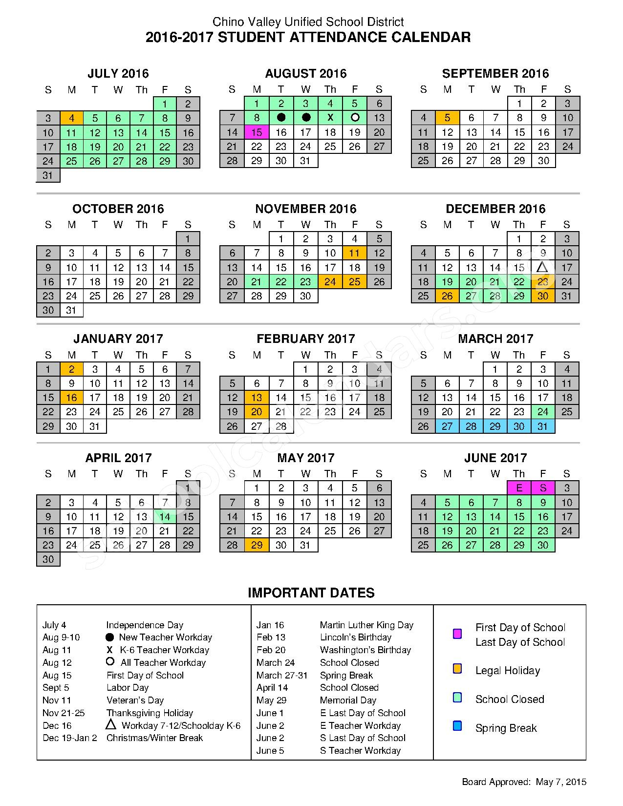 2016 - 2017 Important Dates Calendar – Chino Valley Unified School District – page 1