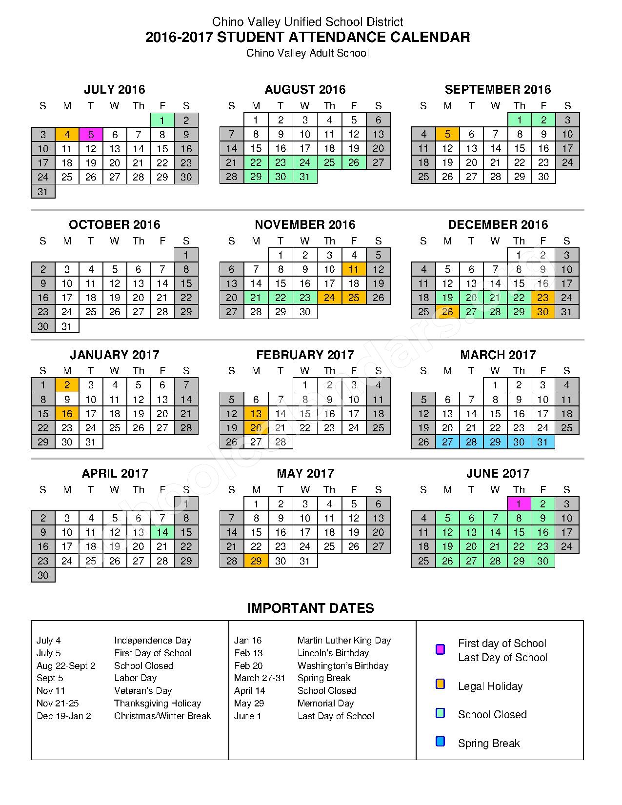 2016 - 2017 Adult School Calendar – Chino Valley Unified School District – page 1