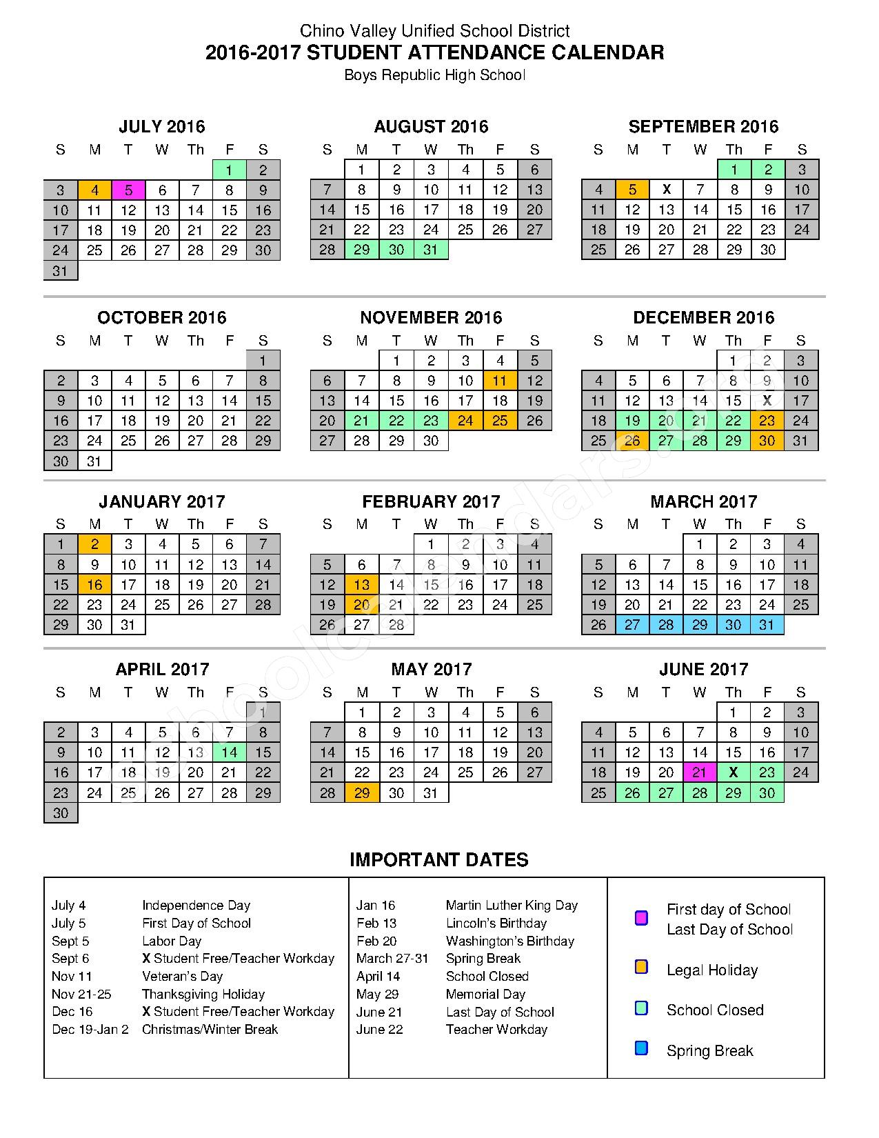 2016 - 2017 Boys Republic Calendar – Chino Valley Unified School District – page 1