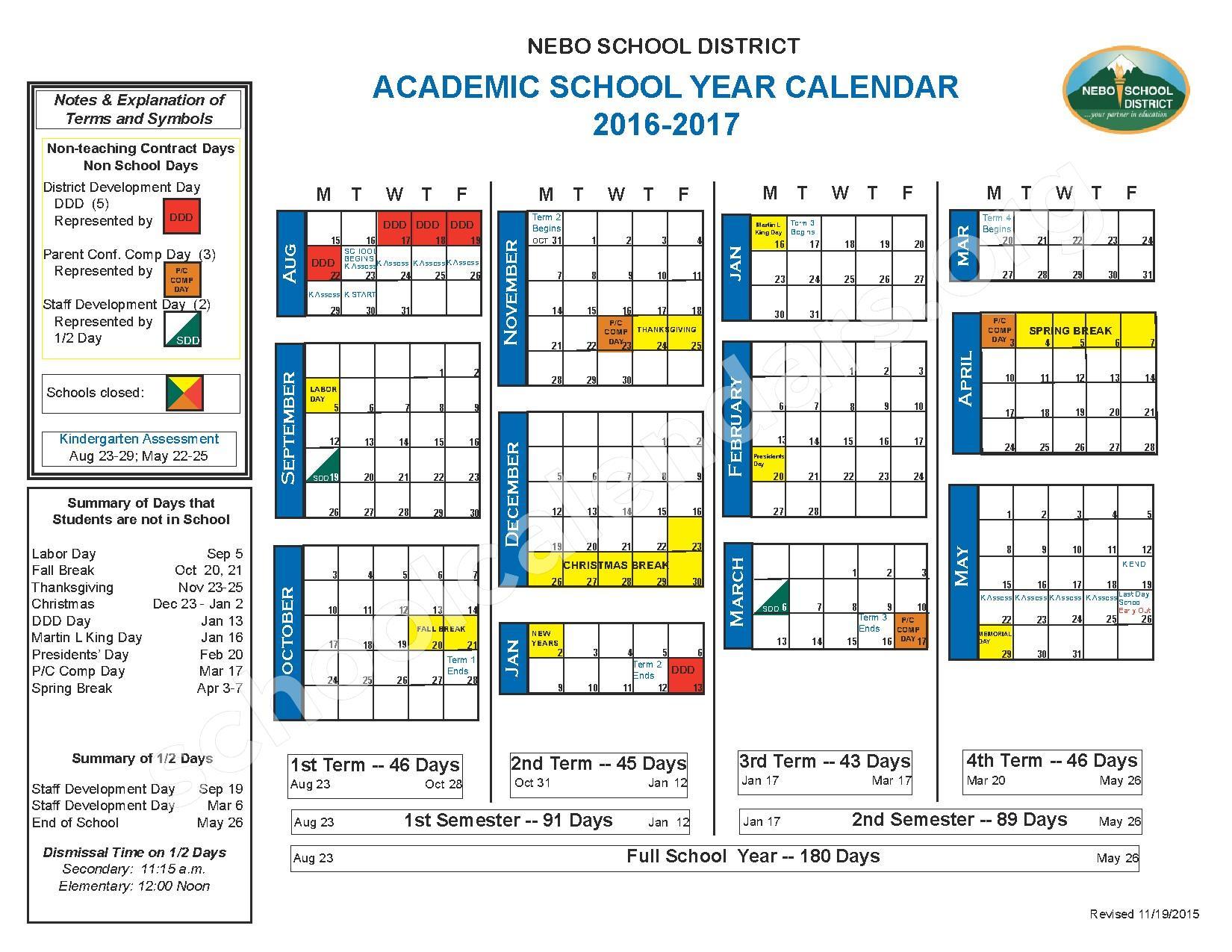2016 - 2017 School Calendar – Nebo School District – page 1