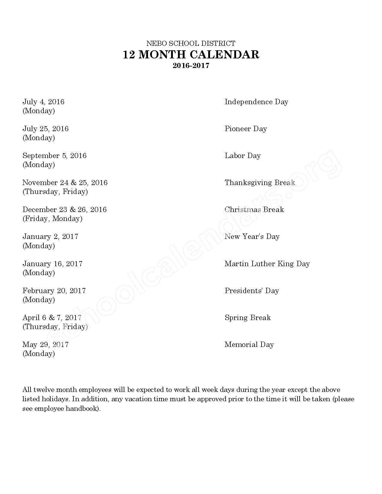 2016 - 2017 School Calendar – Nebo School District – page 2