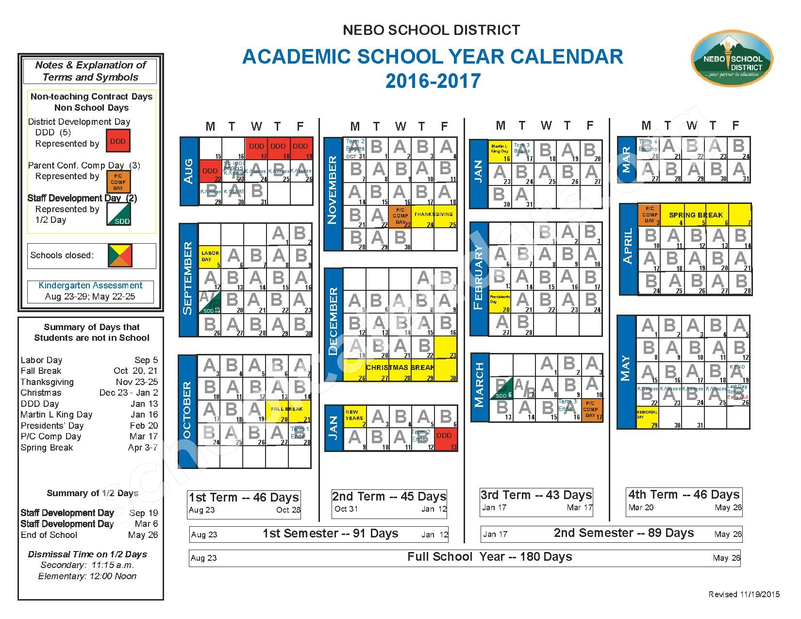 2016 - 2017 School Calendar (with A/B days) – Nebo School District – page 1