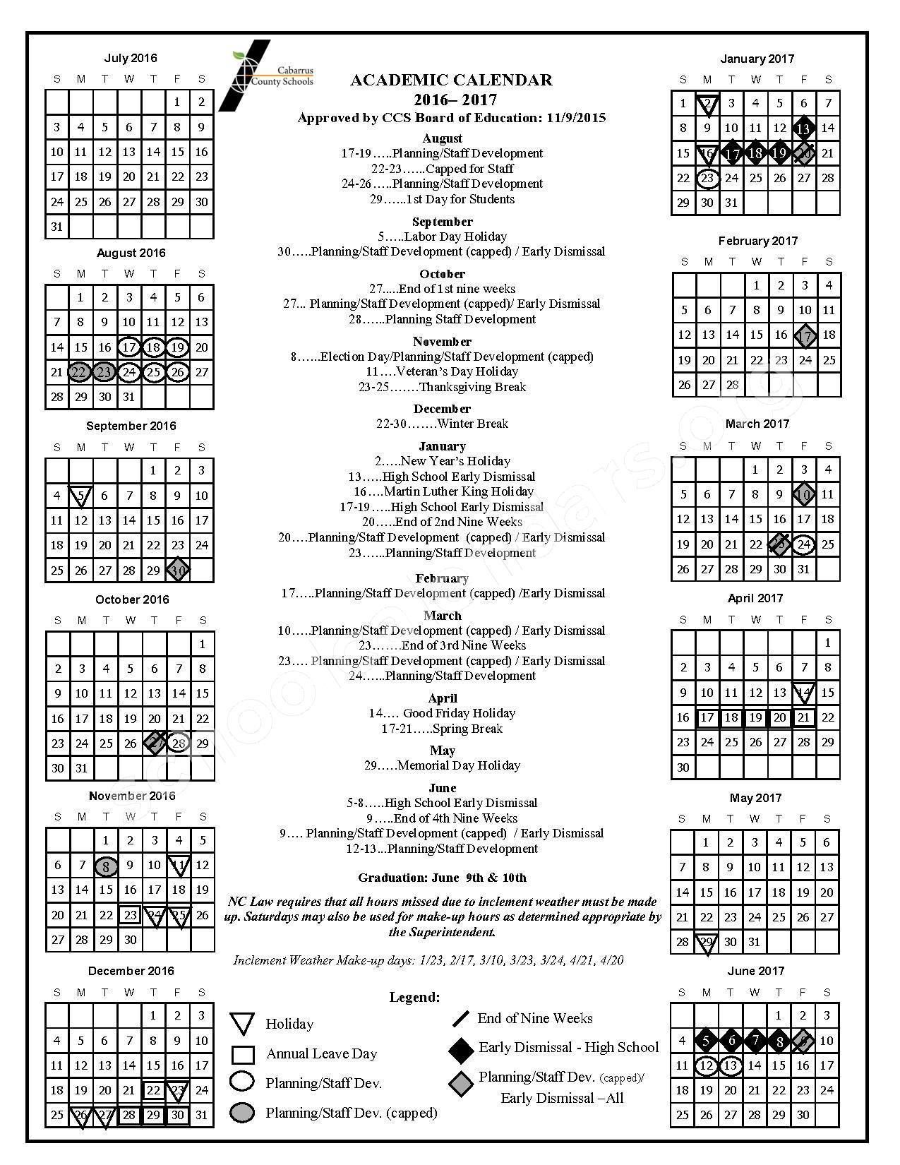 2016 - 2017 School Calendar – Cabarrus County Schools – page 1