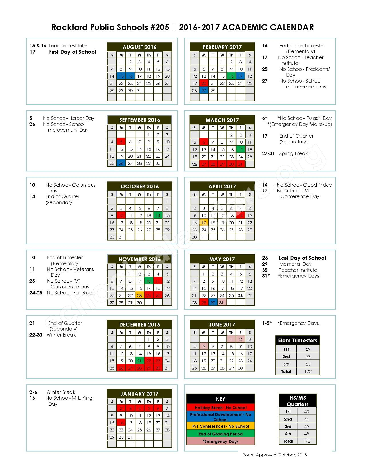 2016 - 2017 Academic Calendar – Leadership & Learning Academy – page 1