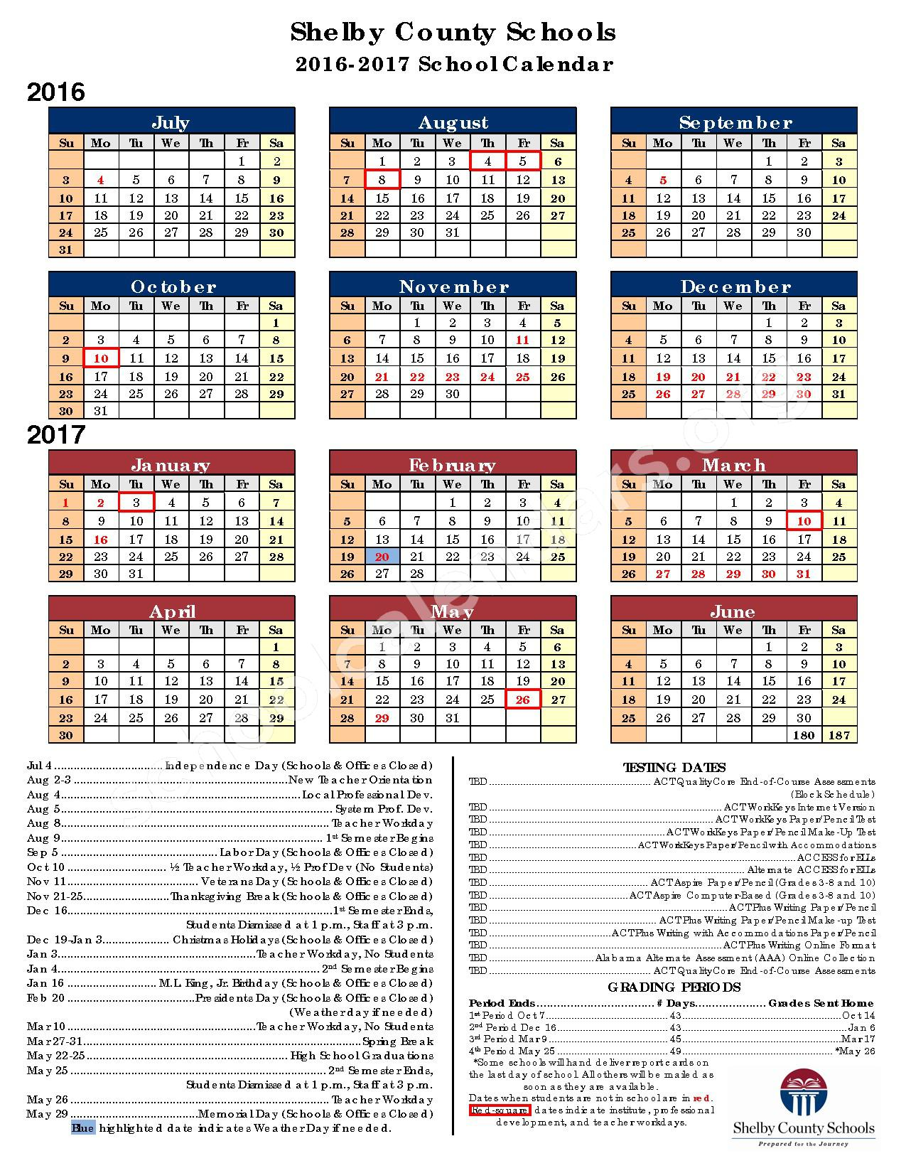 2016 - 2017 Academic Calendar – Shelby County College & Career Center – page 1