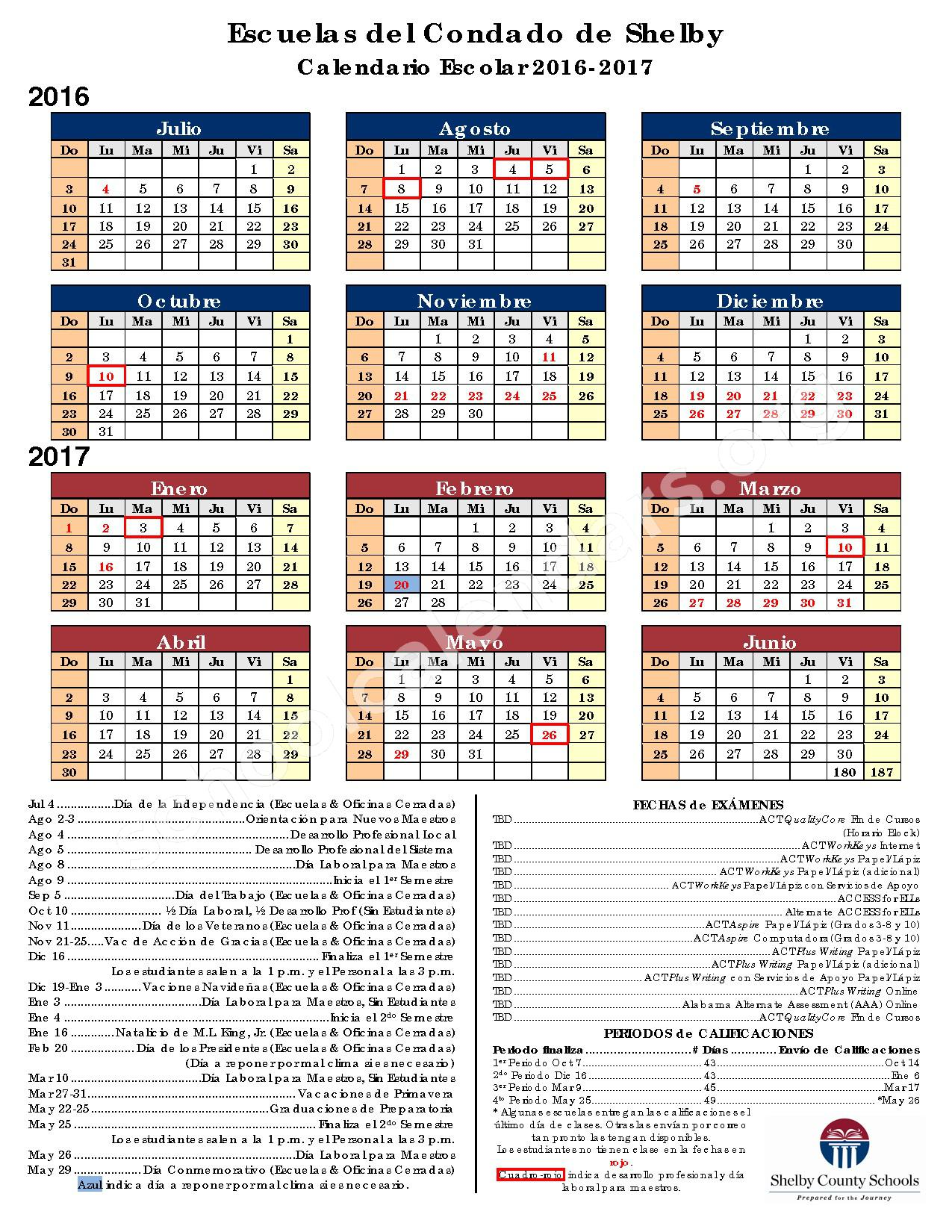 2016 - 2017 Calendario Escolar – Shelby County High School – page 1