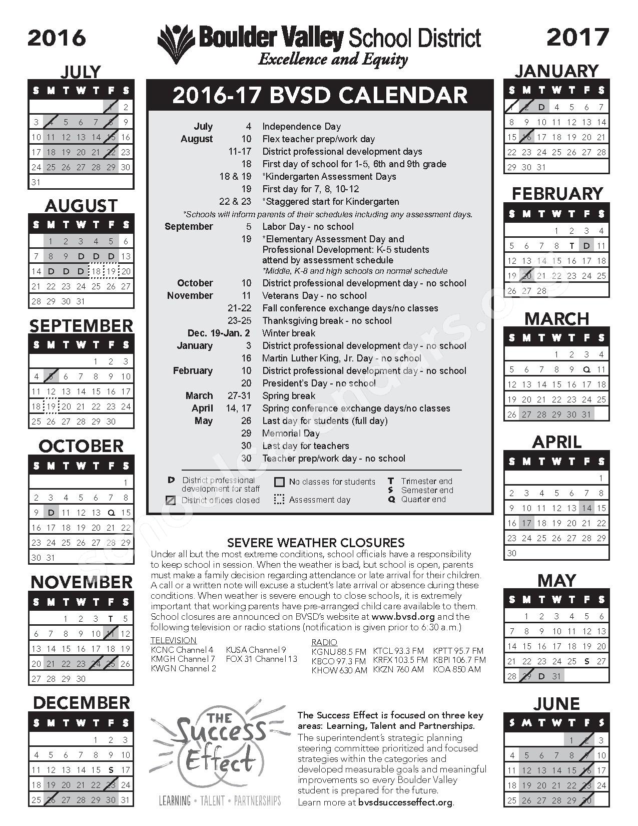 2016 - 2017 School Calendar – Nederland Middle-Senior High School – page 1