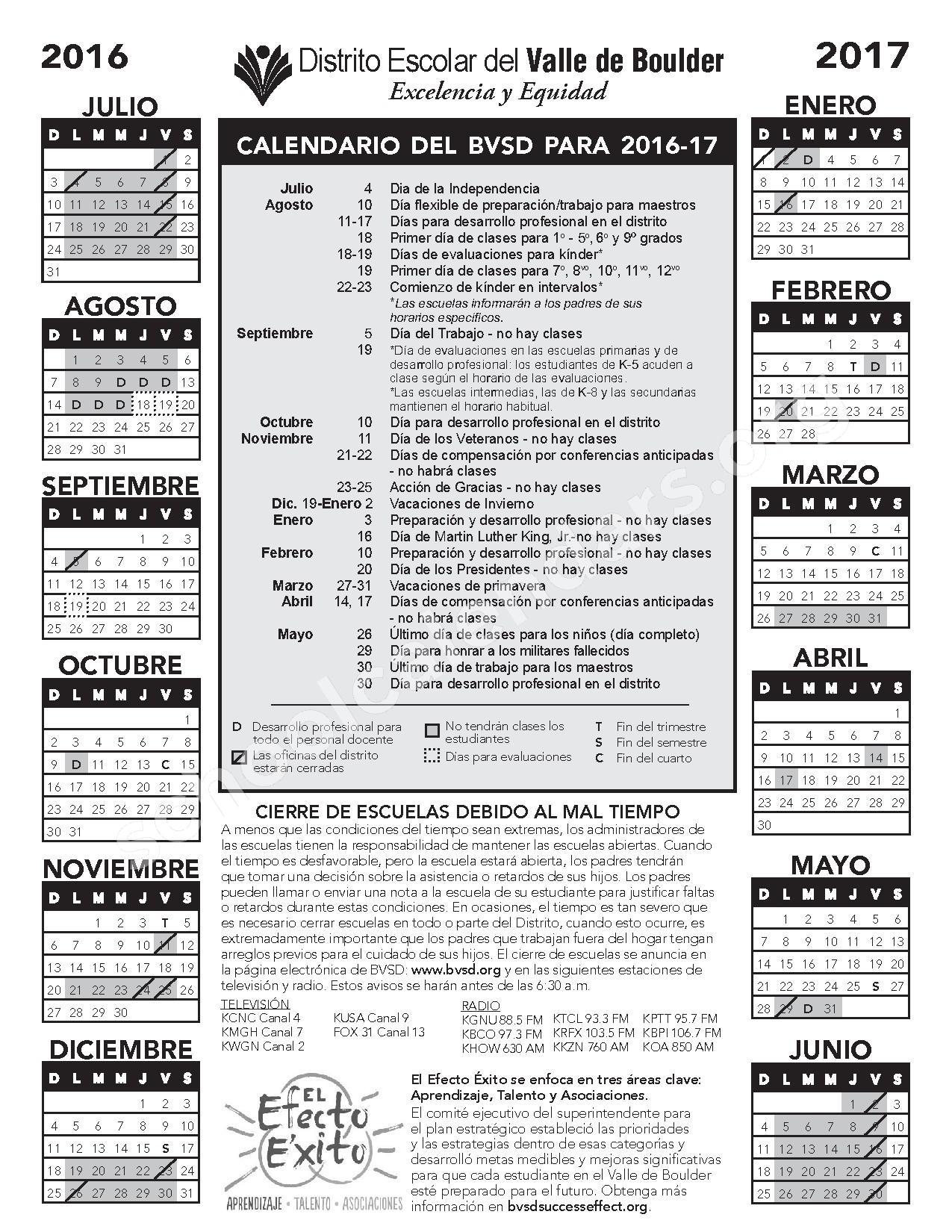 2016 - 2017 Calendario Escolar – Nederland Middle-Senior High School – page 1