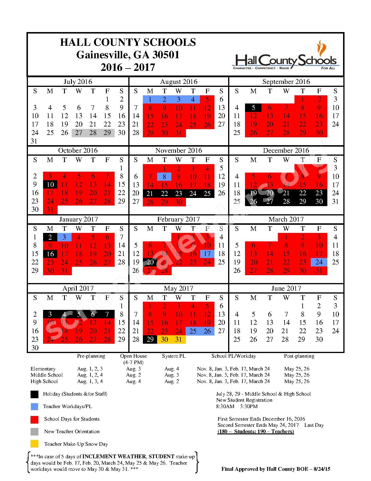 2016 - 2017 District Calendar – Hall County School District – page 1