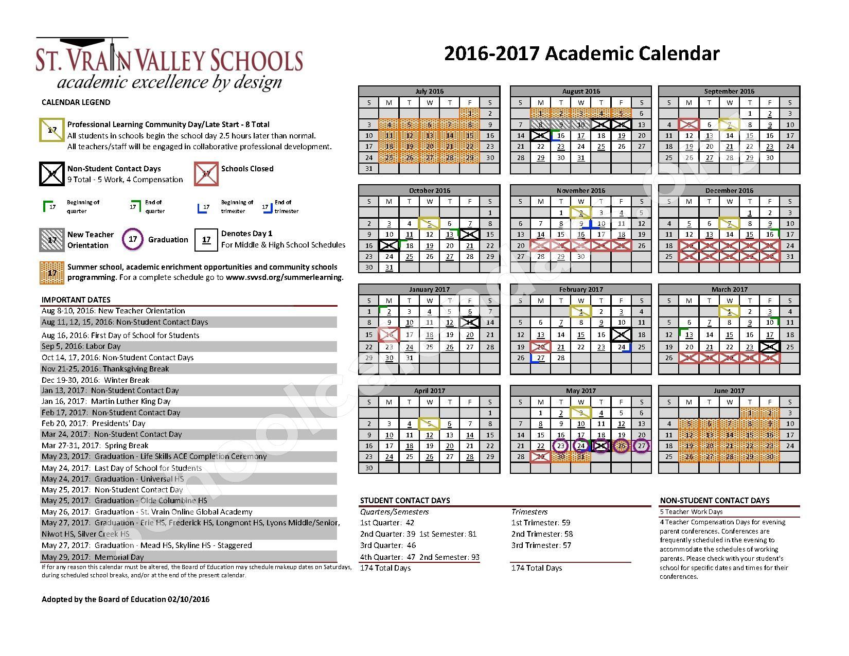 2016 - 2017 School Calendar – St. Vrain Valley Schools – page 1