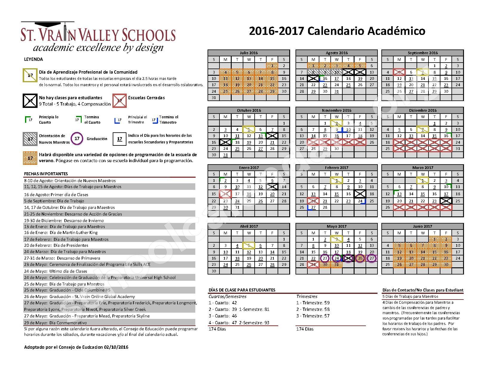 2016 - 2017 Calendario Escolar – St. Vrain Valley Schools – page 1