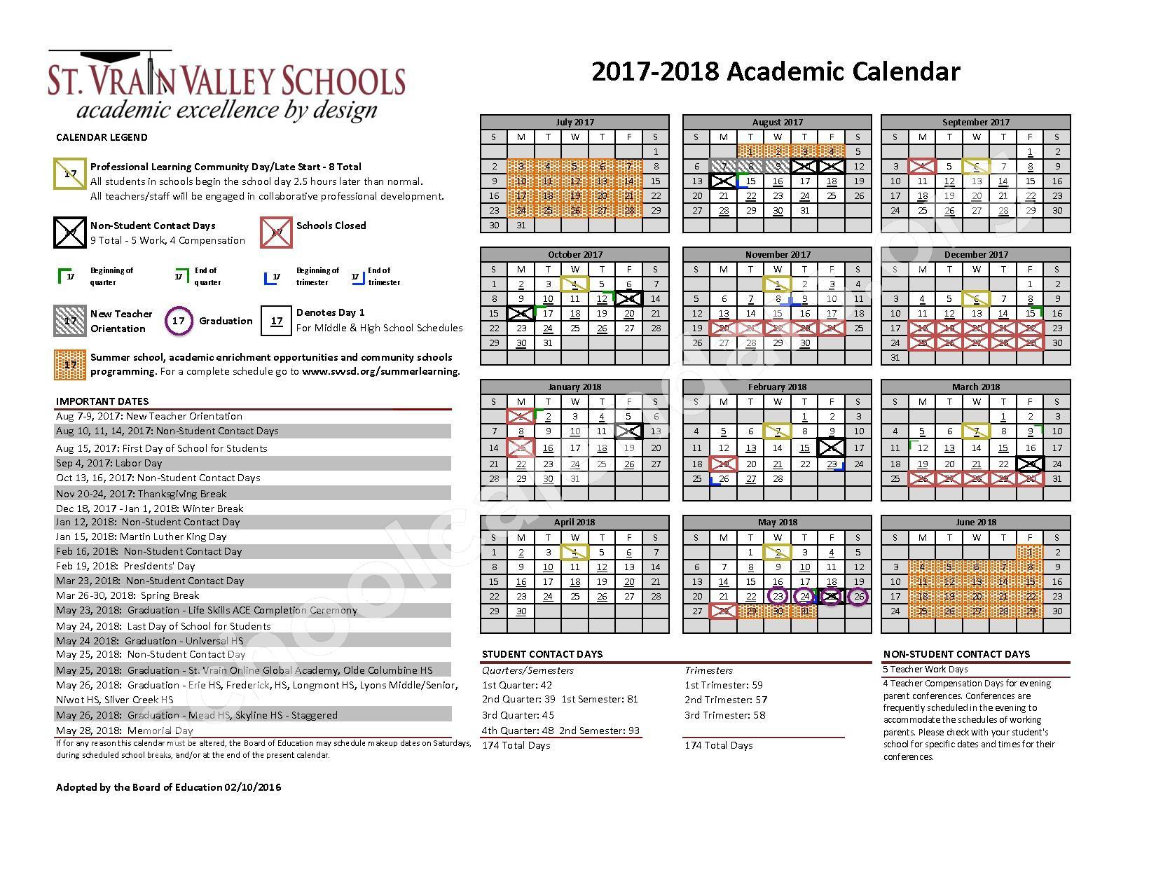 2017 - 2018 School Calendar – St. Vrain Valley Schools – page 1