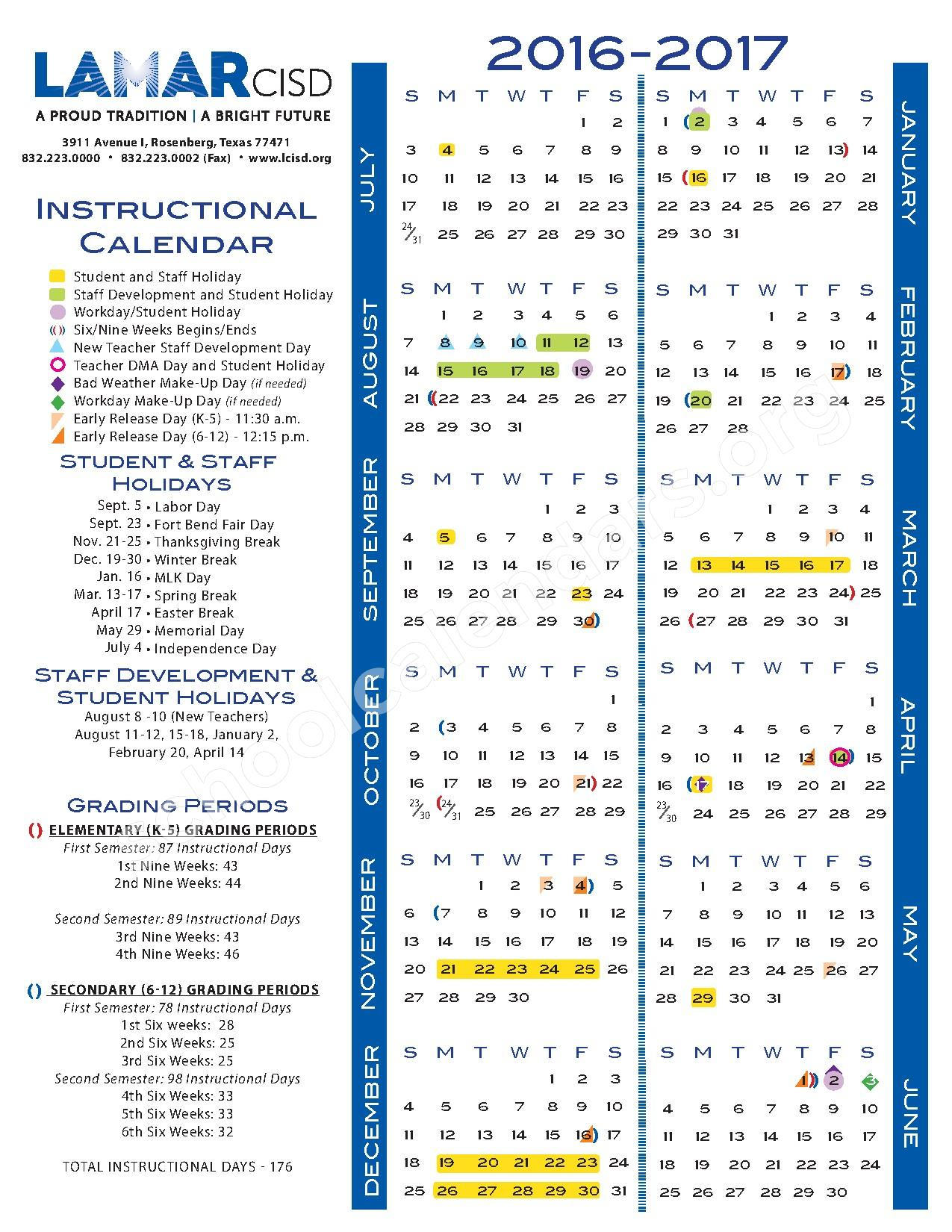 2016 - 2017 School Calendar – Lamar Consolidated Independent School District – page 1