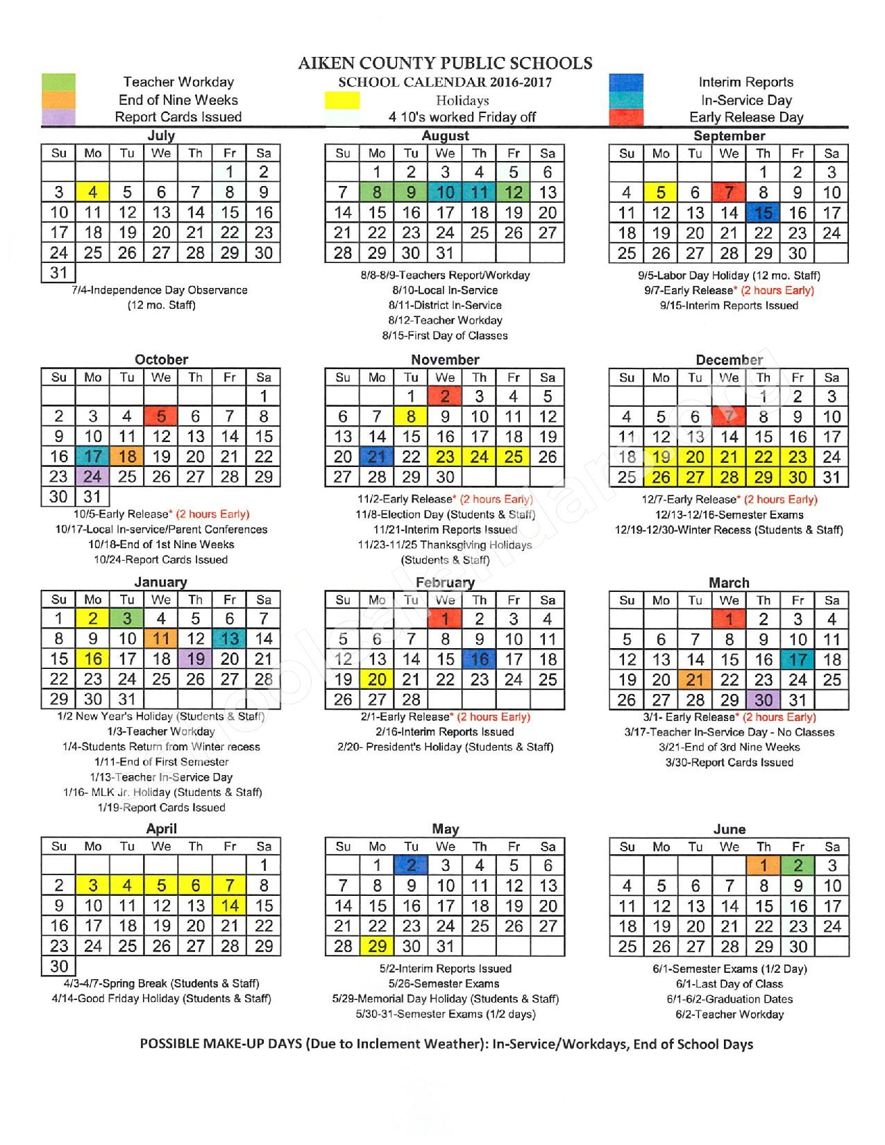 2016 - 2017 District Calendar – J. D. Lever Elementary School – page 1