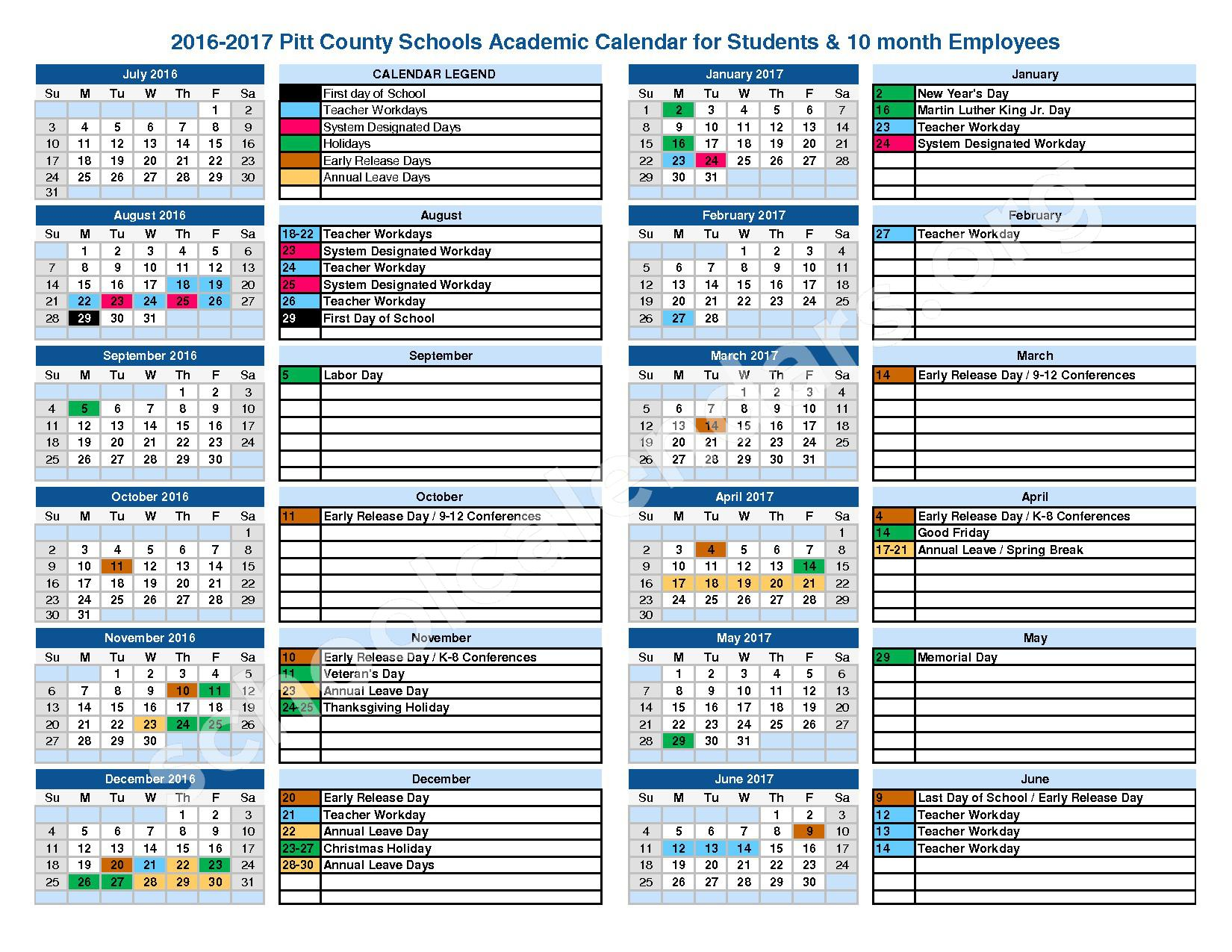 2016 - 2017 District Calendar – Lakeforest Elementary School – page 1
