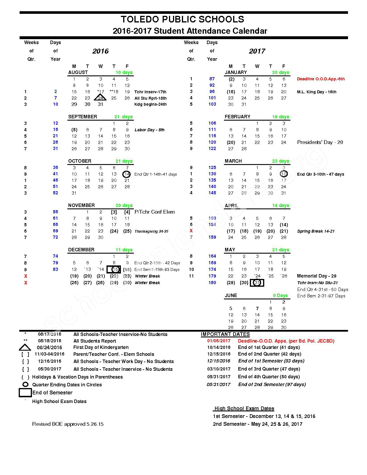 2016 - 2017 School Calendar – Toledo Public Schools – page 1