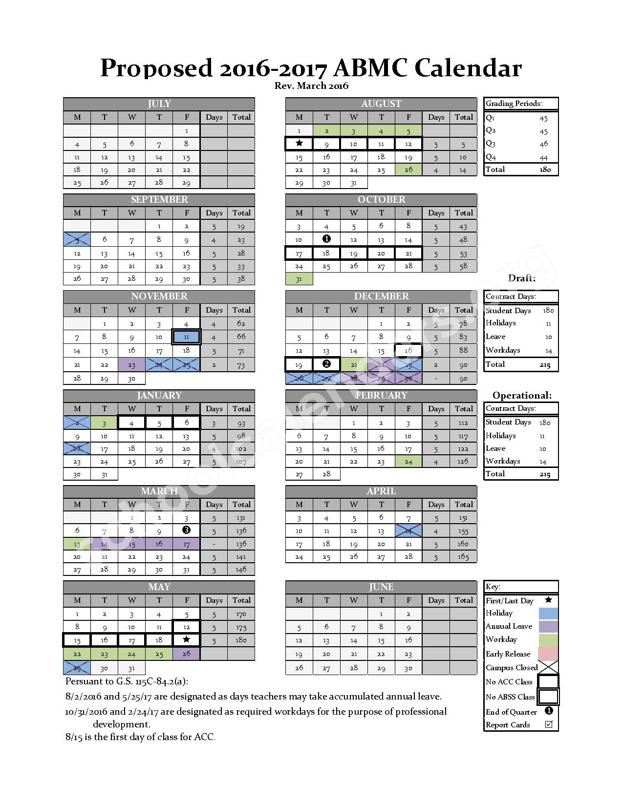 2016 - 2017 Early-Middle College Calendar – Alamance-Burlington Middle College – page 1