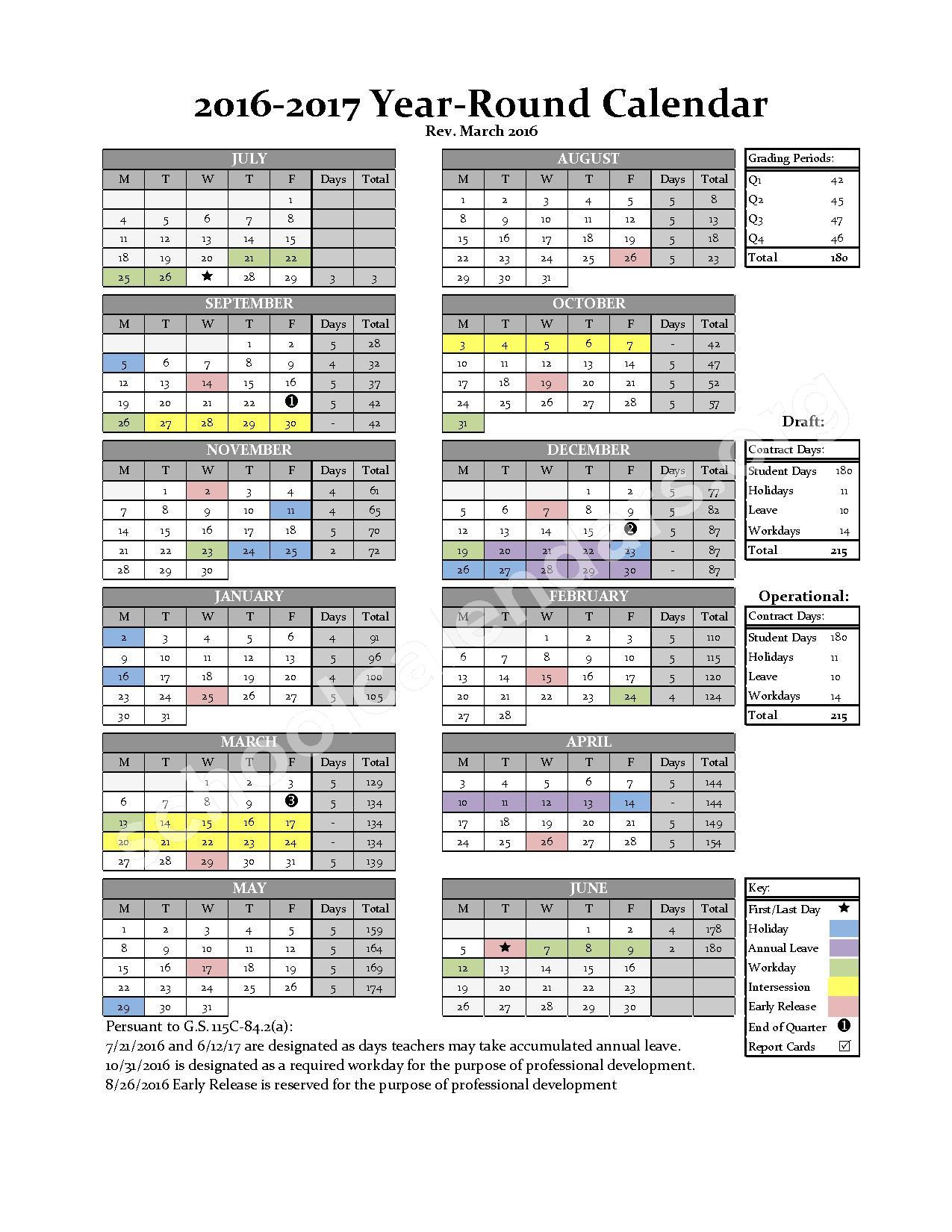 2016 - 2017 Year-Round Calendar – Alamance-Burlington School System – page 1
