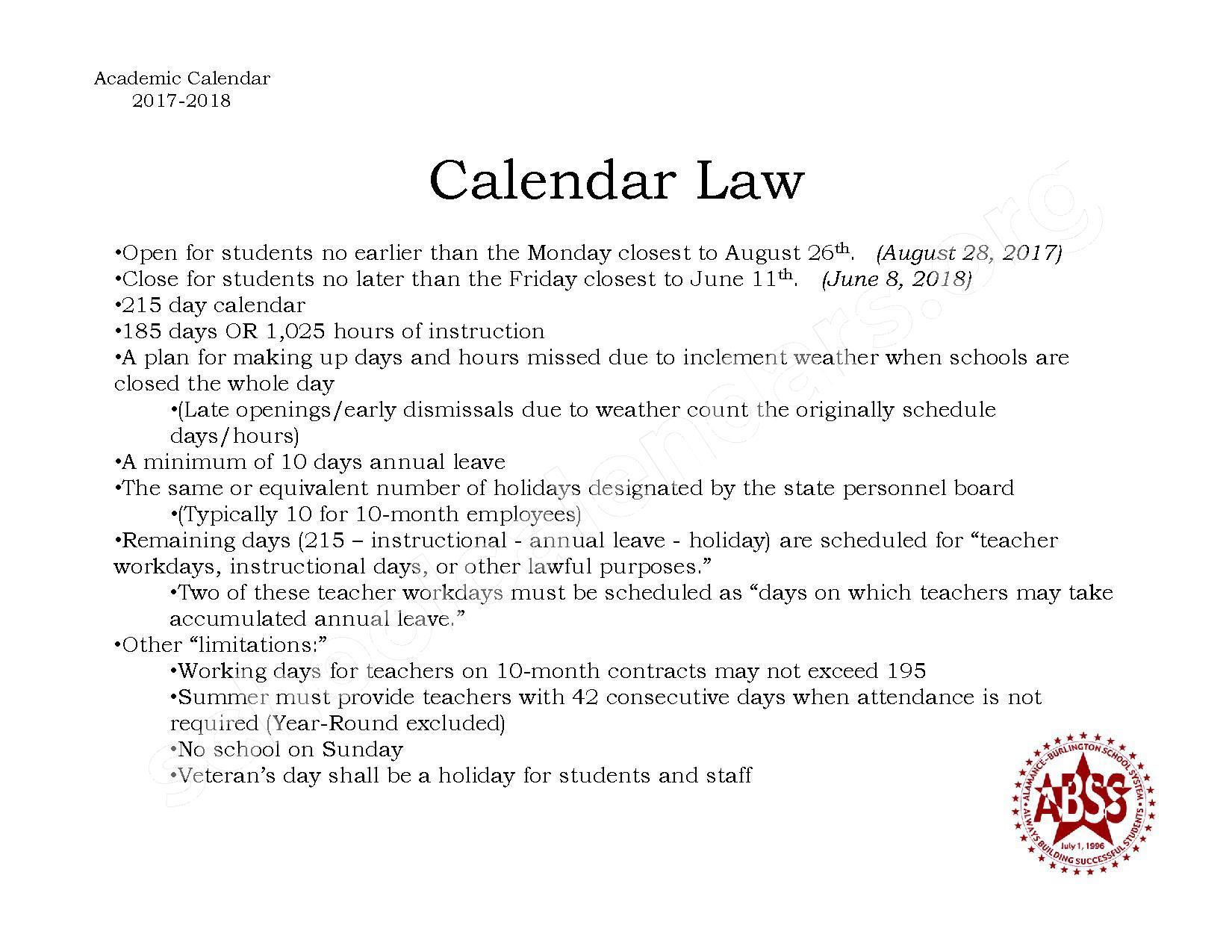 2017 - 2018 NC Calendar Law Summary – Alamance-Burlington School System – page 1
