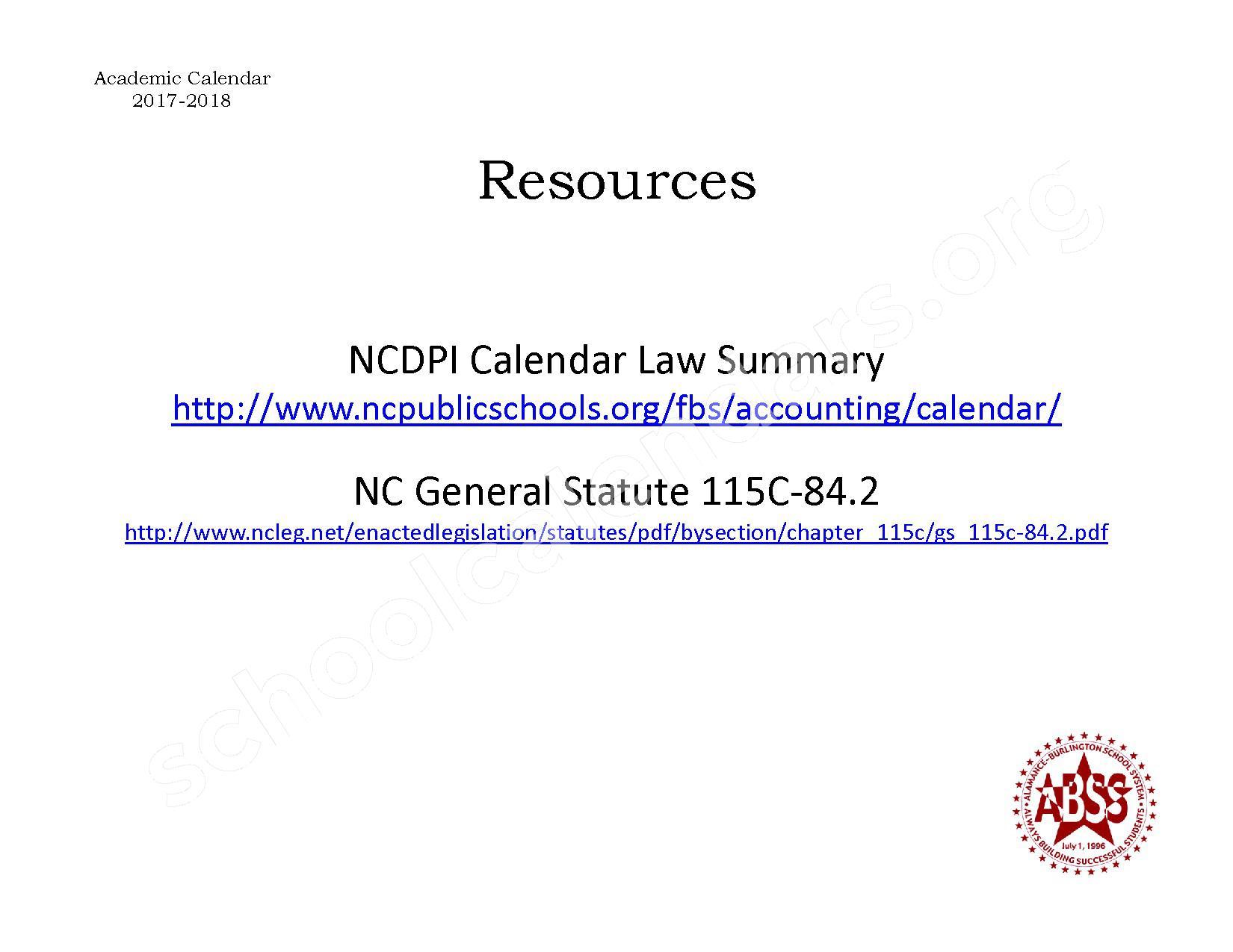2017 - 2018 NC Calendar Law Summary | Alamance-Burlington