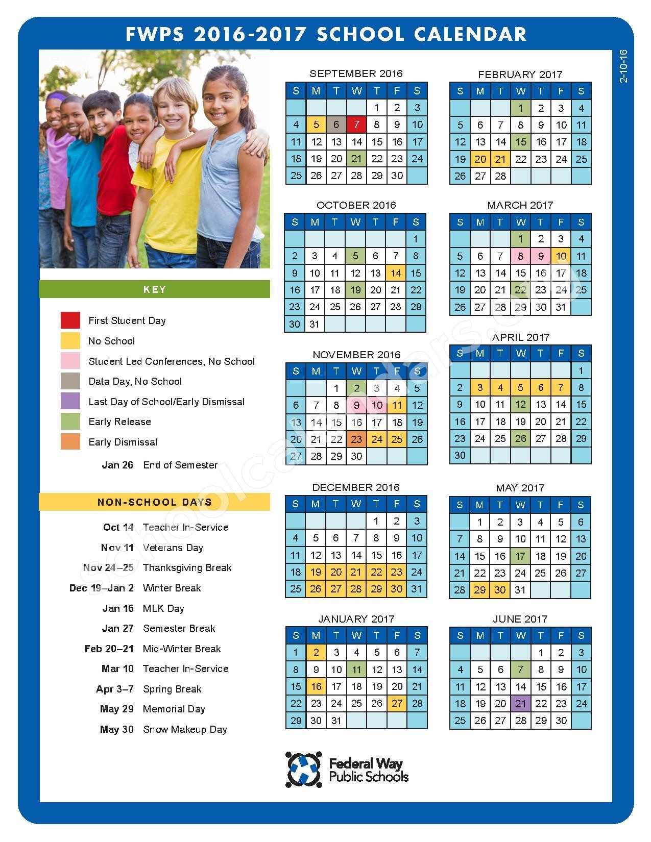 2016 - 2017 FWPS Calendar – Federal Way Public School ECEAP – page 1