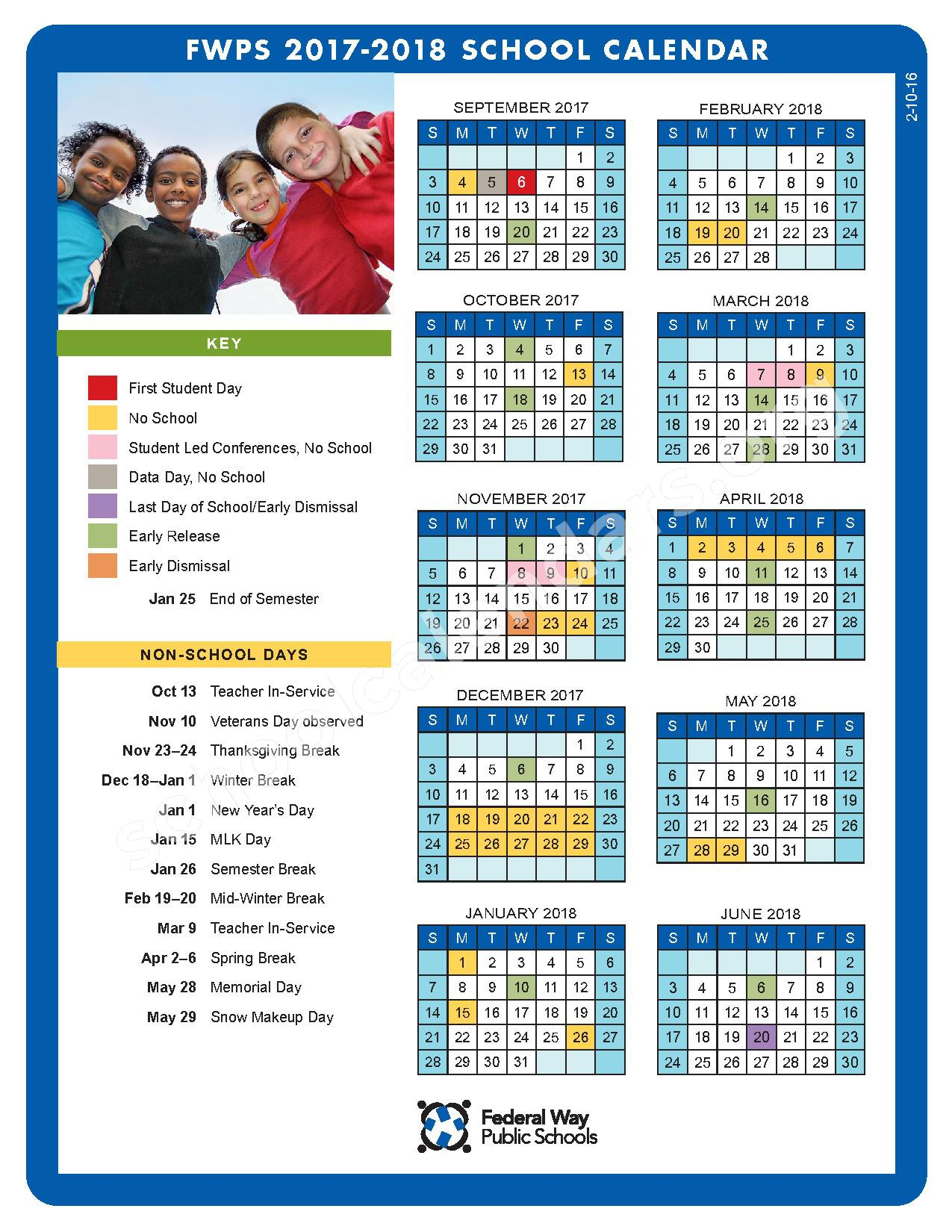 2017 - 2018 FWPS Calendar – Federal Way School District – page 1