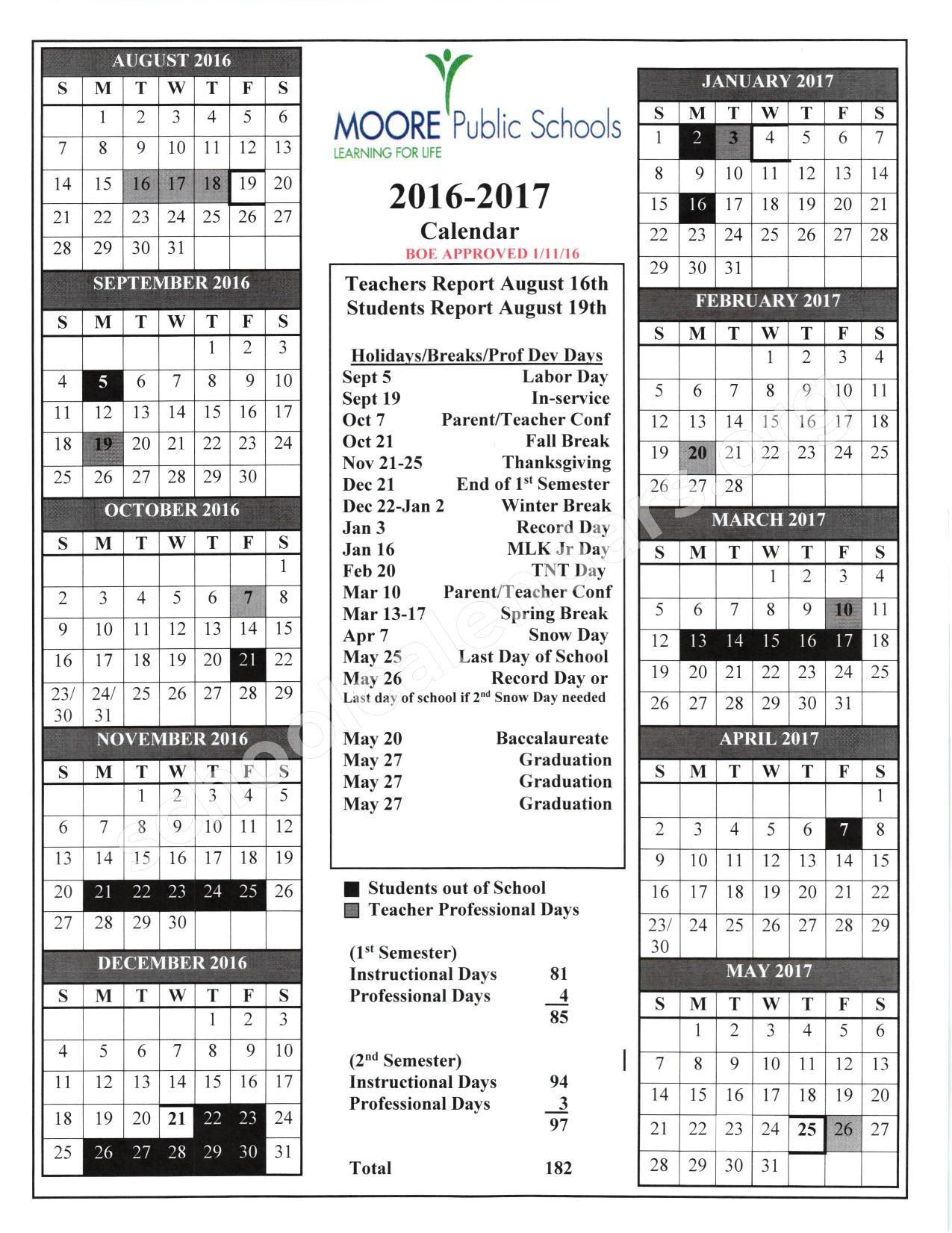 2016 - 2017 School Calendar – Plaza Towers Elementary School – page 1