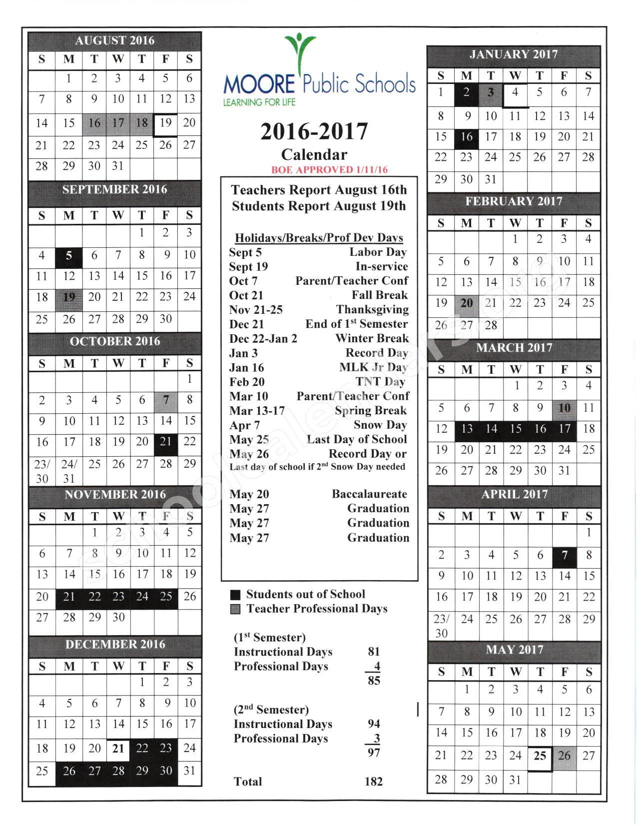 2016 - 2017 School Calendar – Fisher Elementary School – page 1