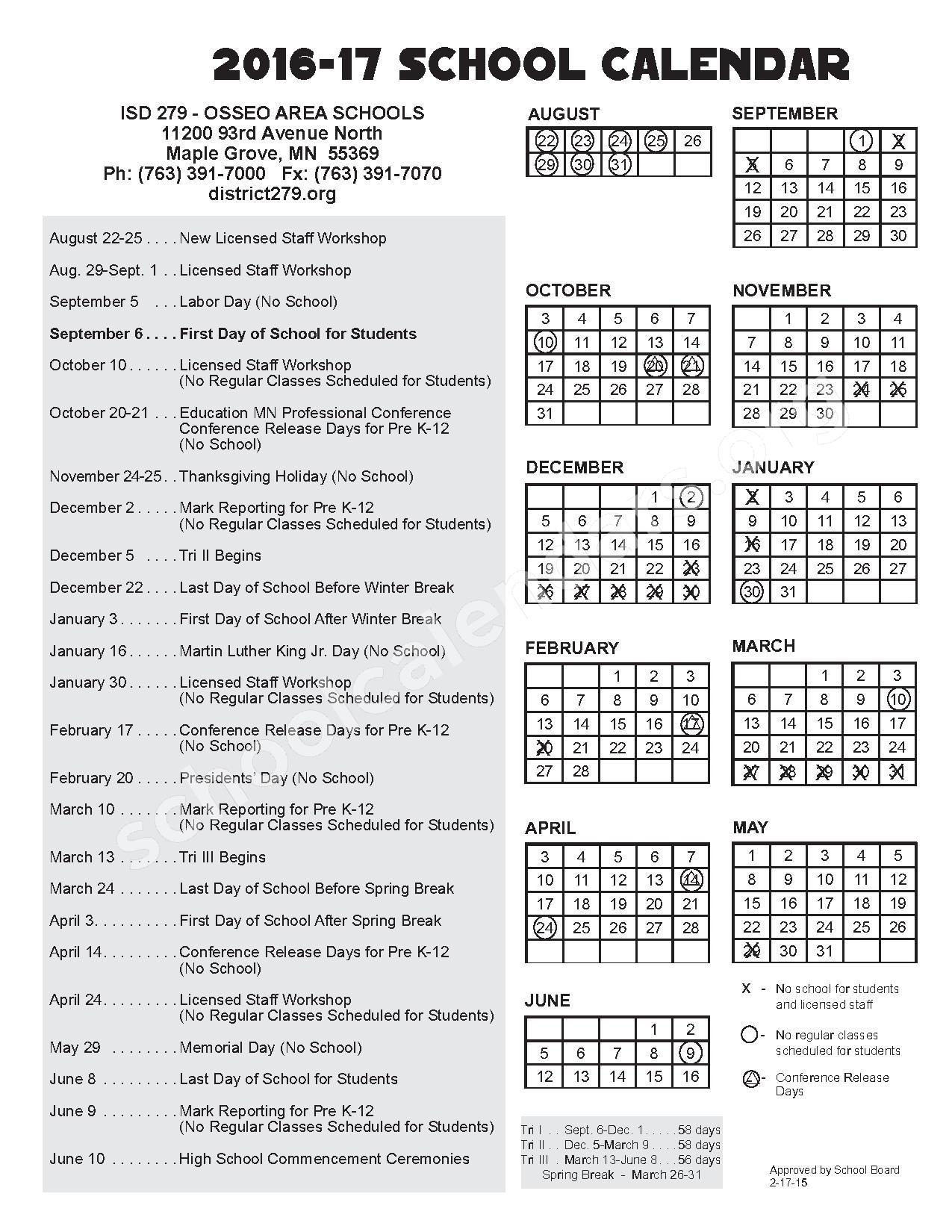 2016 - 2017 School Calendar – Edinbrook Elementary School – page 1