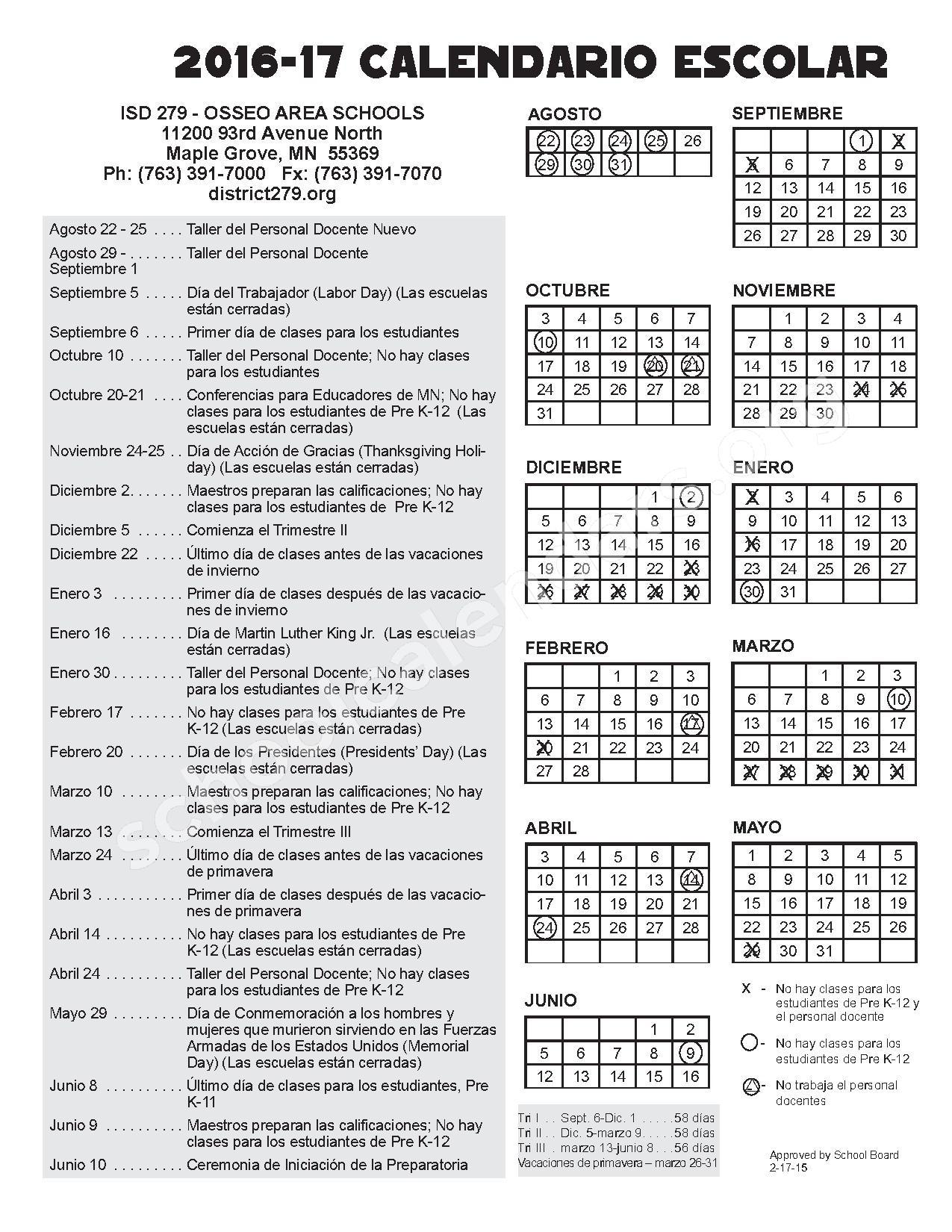 2016 - 2017 Calendario Escolar – Zanewood Community School – page 1