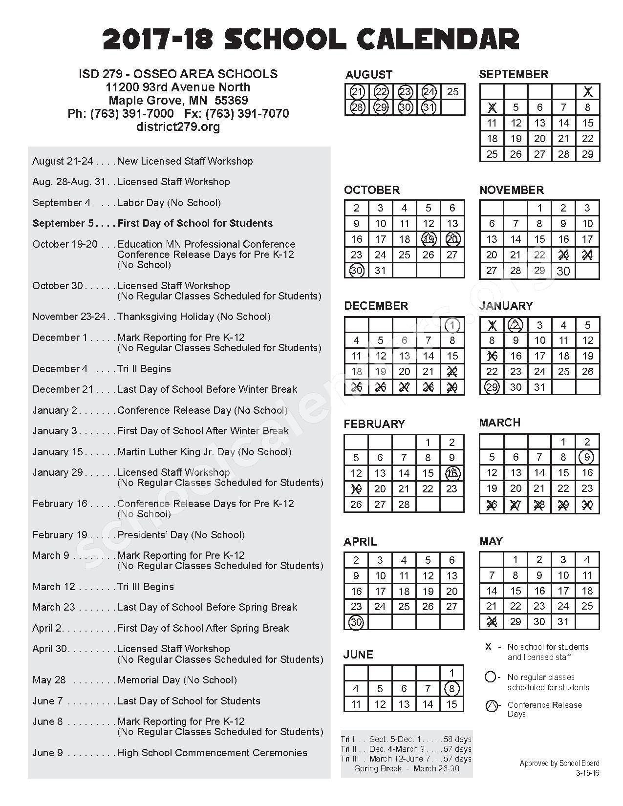 2017 - 2018 School Calendar – Osseo Public School District – page 1