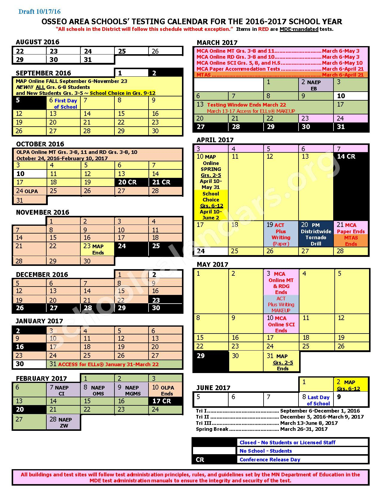 2016 - 2017 District Testing Calendar – Osseo Public School District – page 1