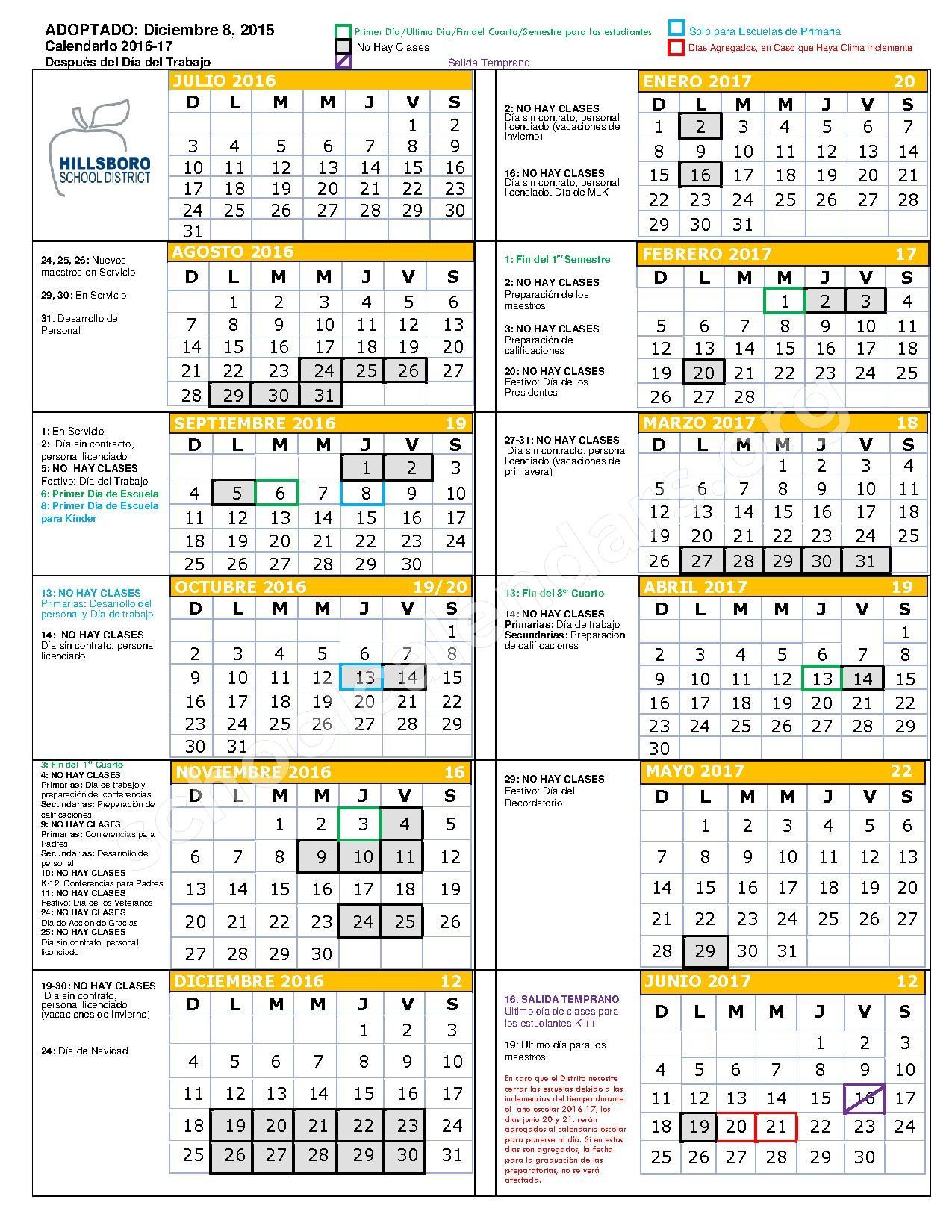 2016 - 2017 Calendario Escolar – Hillsboro School District  – page 1