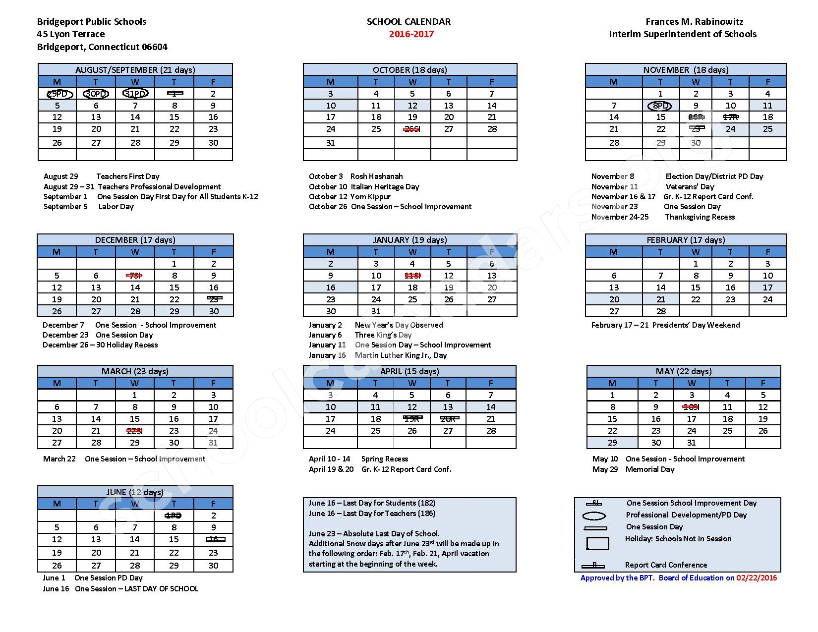 2016 - 2017 School Calendar – Bridgeport School District – page 1