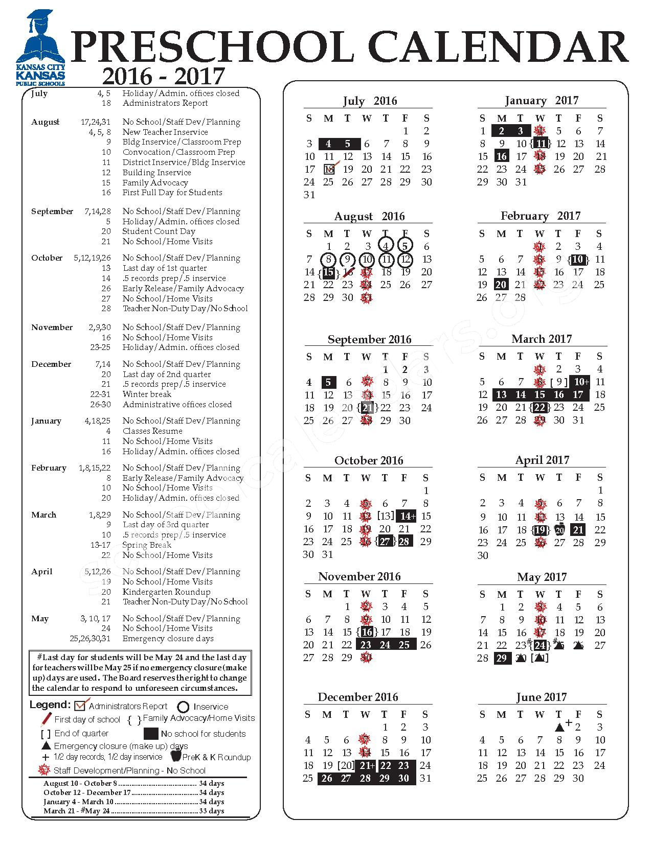 2016 - 2017 Preschool Calendar – Kansas City Unified School District 500 – page 1