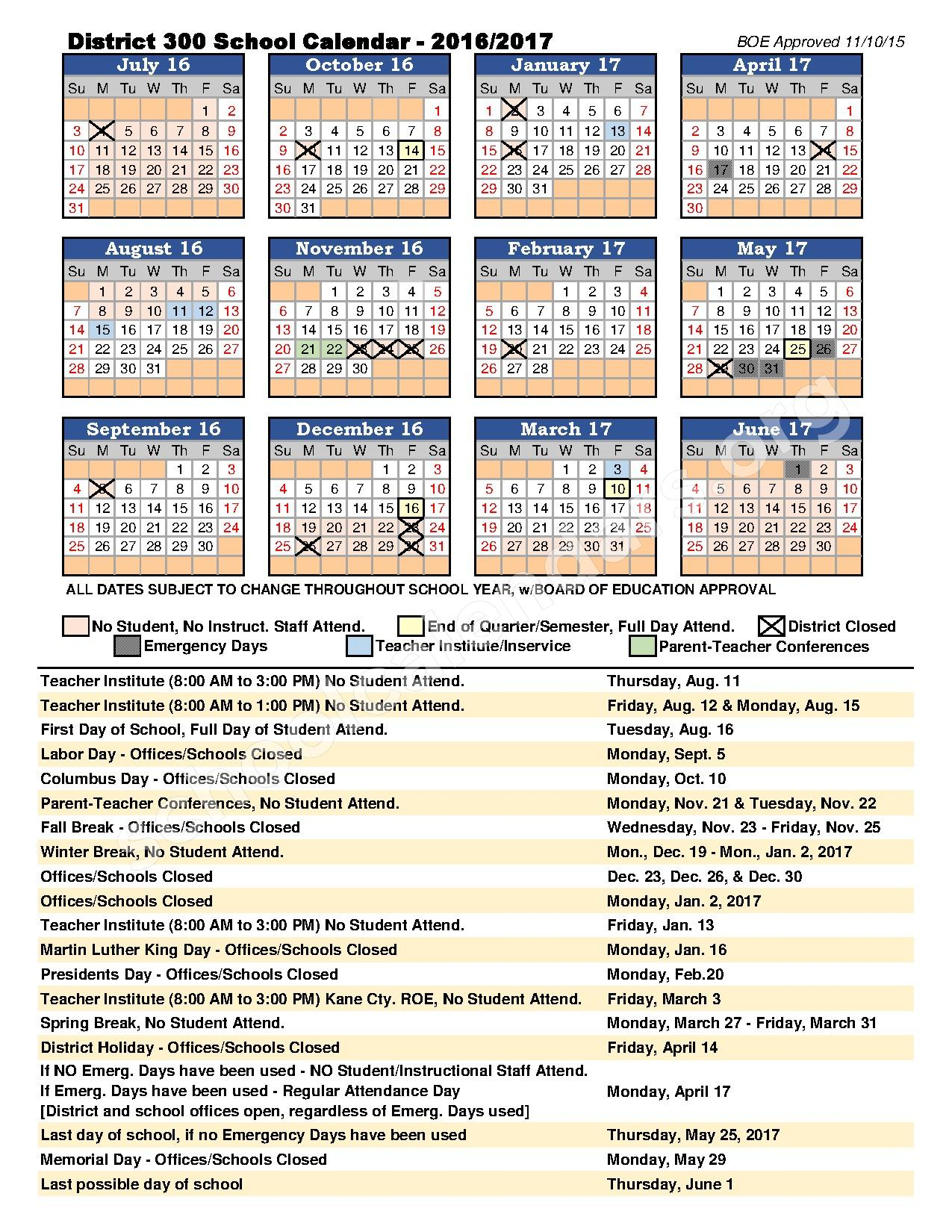 2016 - 2017 District Calendar – Liberty Elementary School – page 1