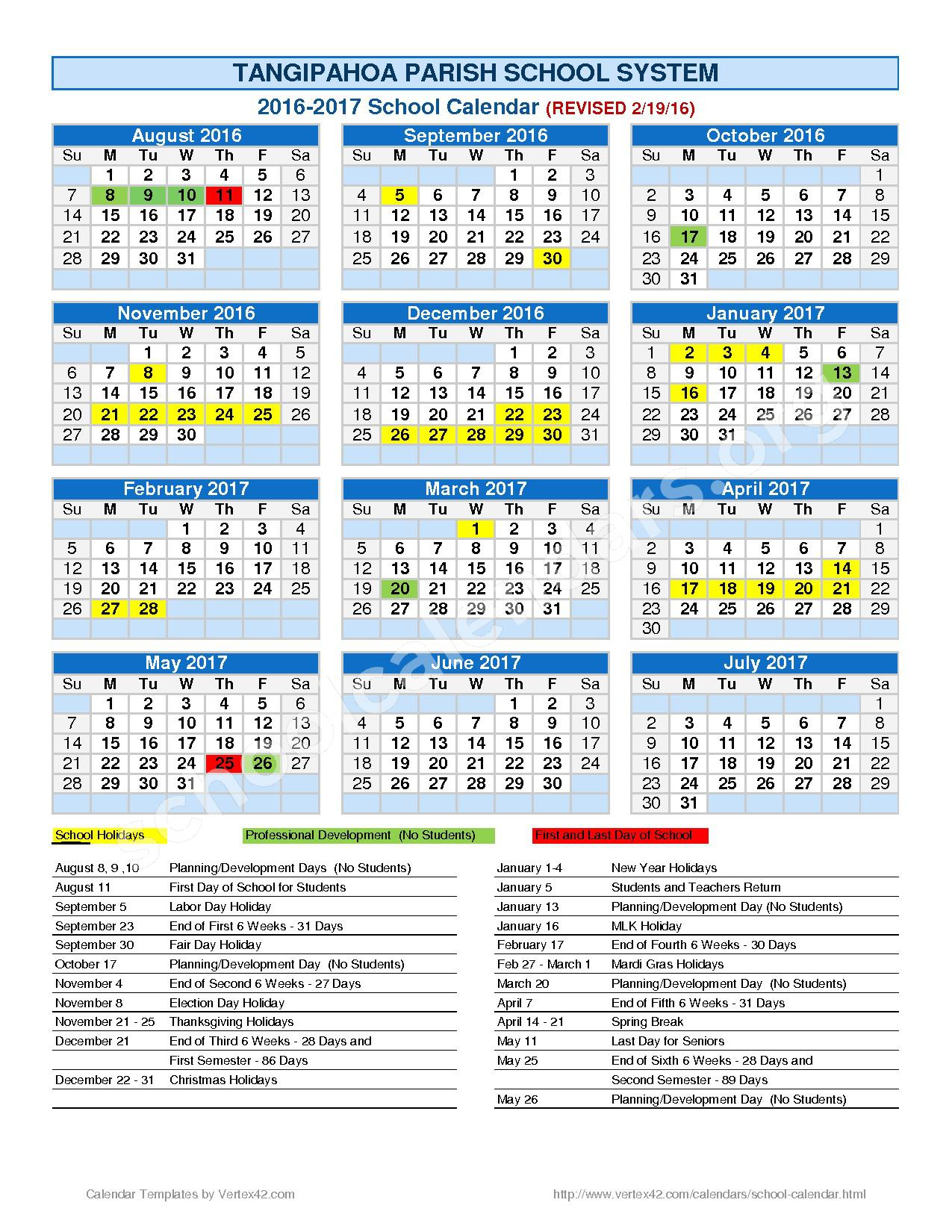 2016 - 2017 School Calendar – Hammond Eastside Primary School – page 1