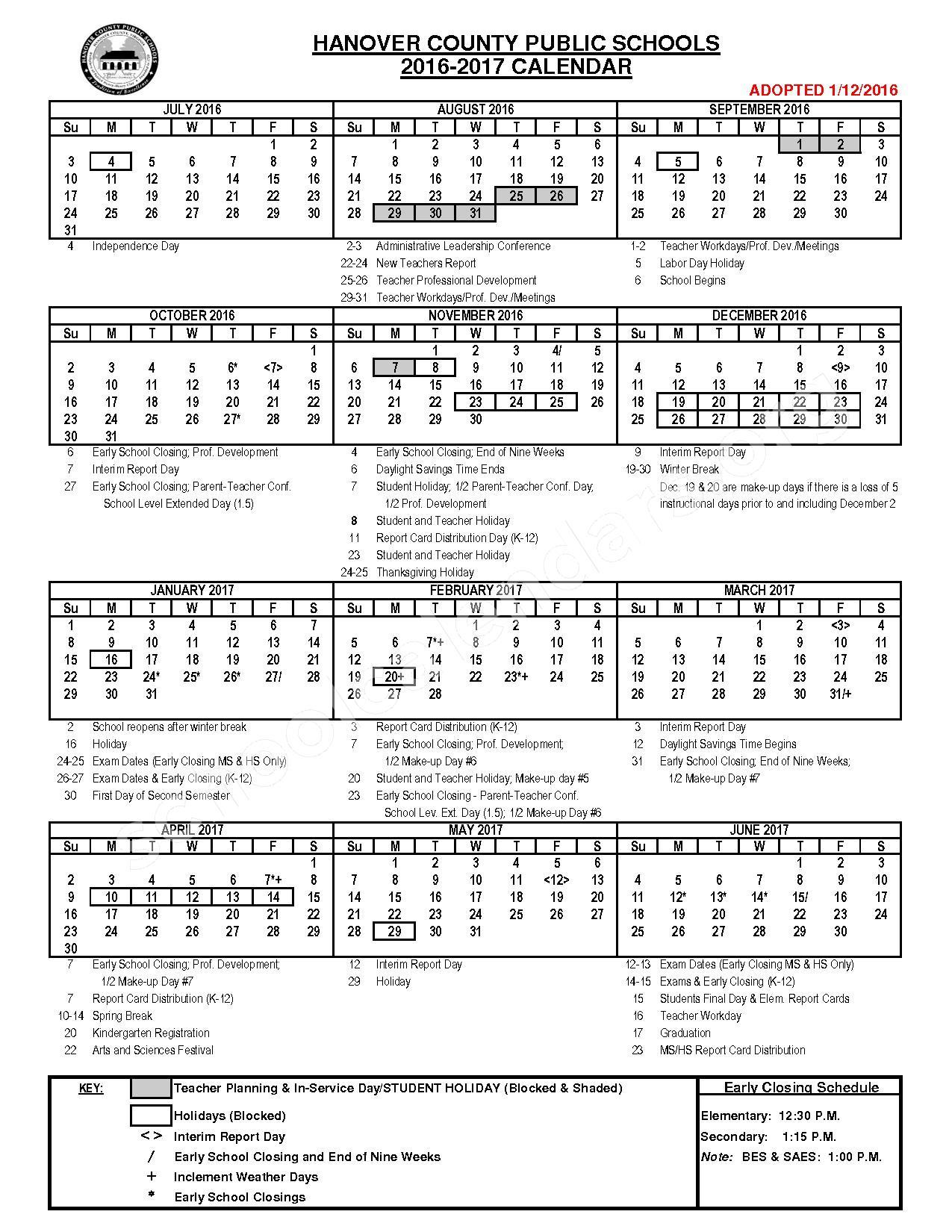 2016 - 2017 HCPS Calendar – Hanover County Public Schools – page 1