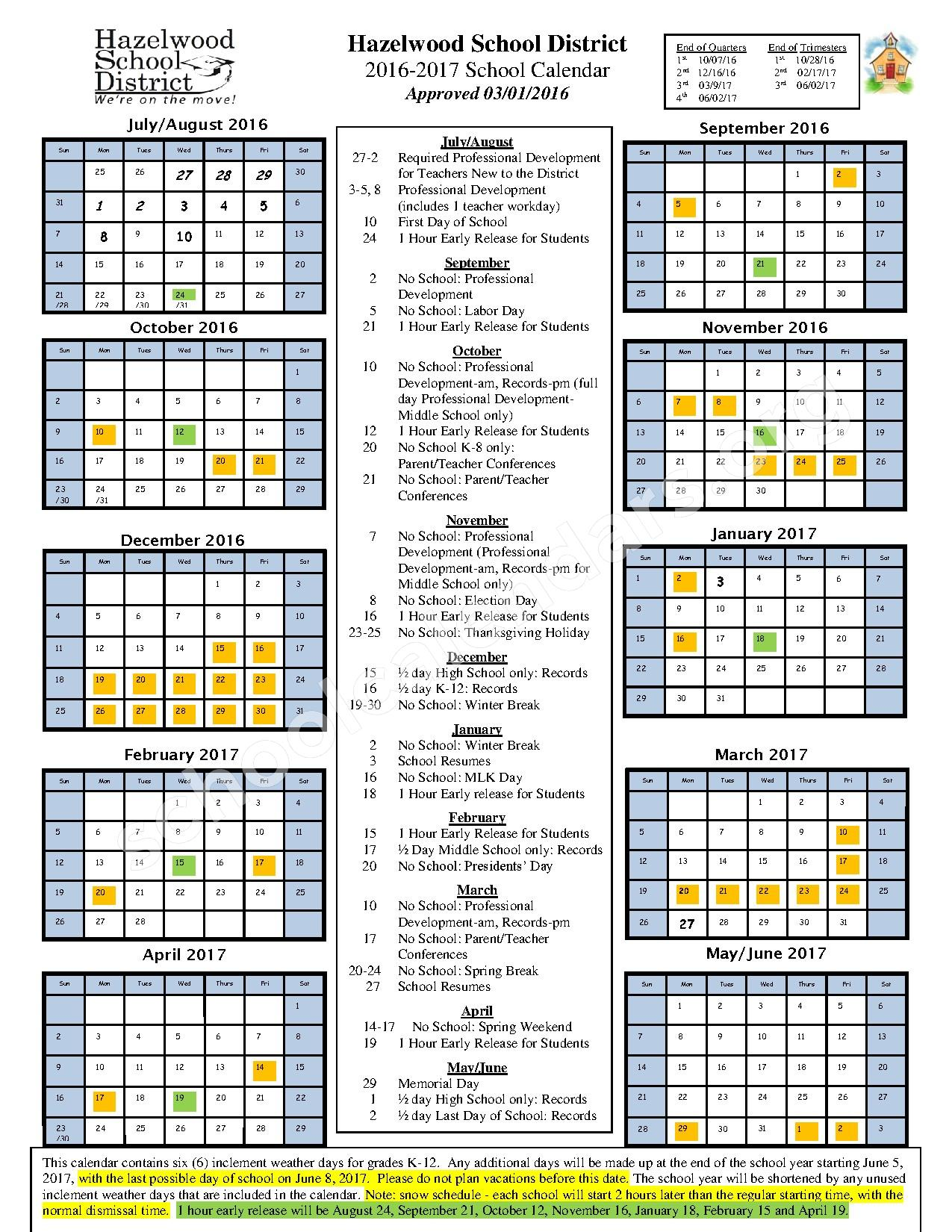 2016 - 2017 District Calendar – Hazelwood School District – page 1