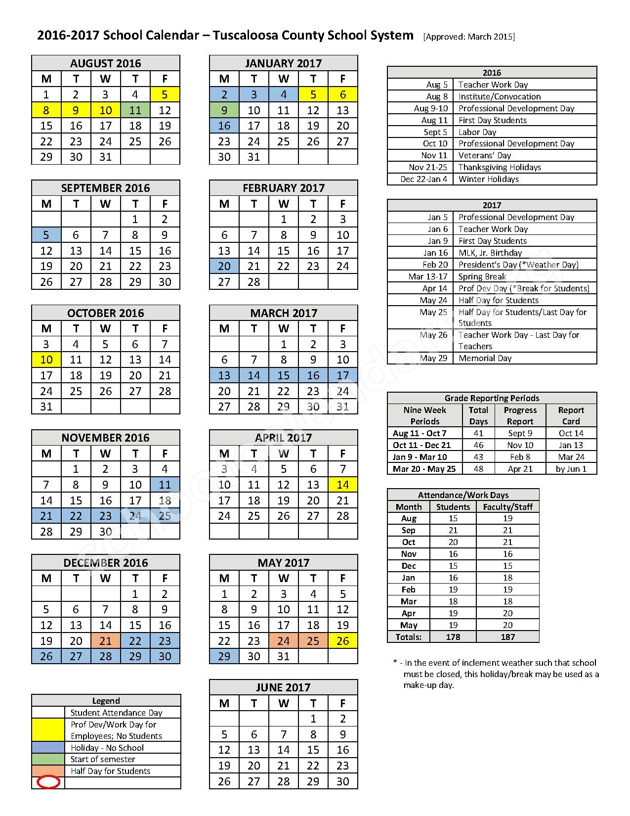 2016 - 2017 TCSS Calendar – Collins-Riverside Middle School – page 1