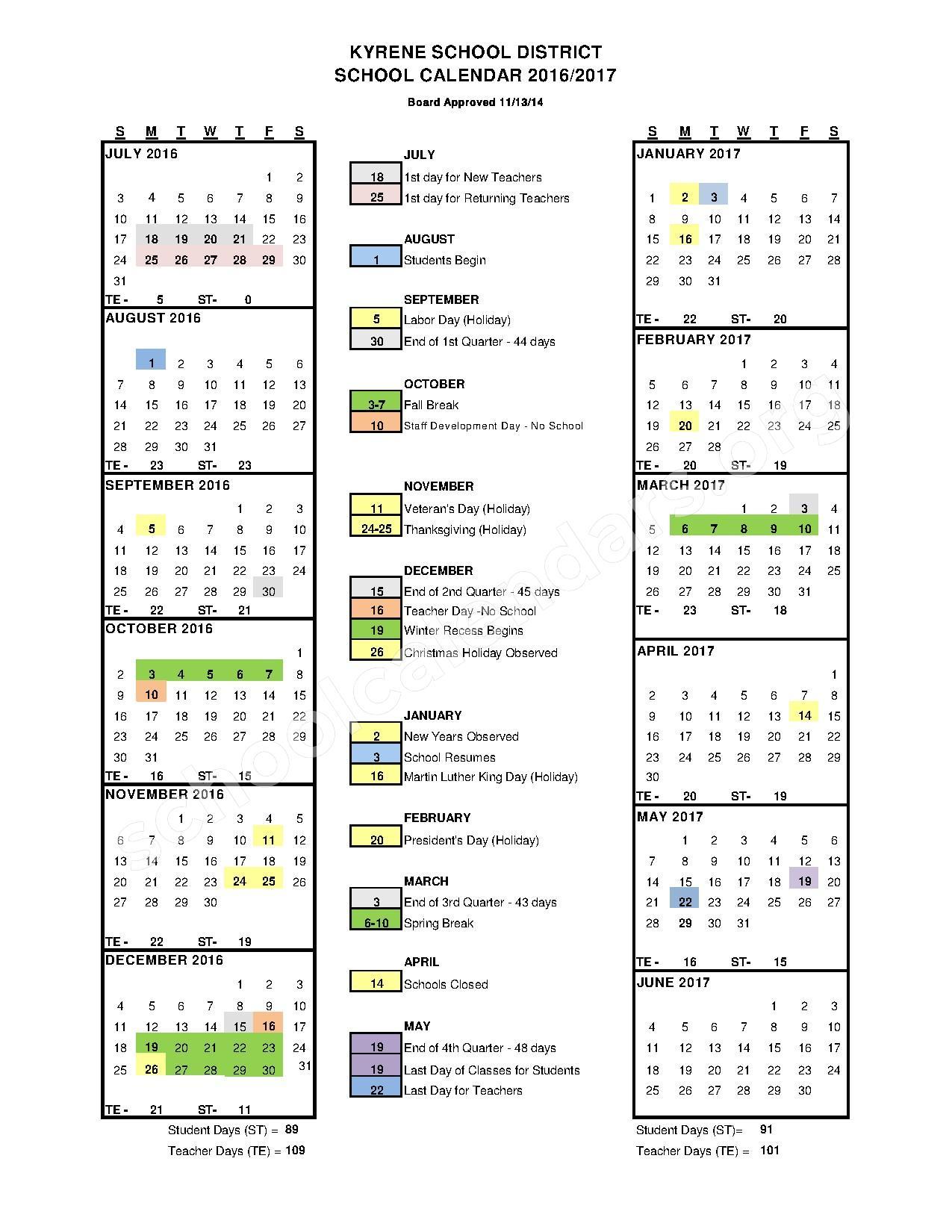 2016- 2017 School Calendar – Kyrene Elementary School District #28 – page 1