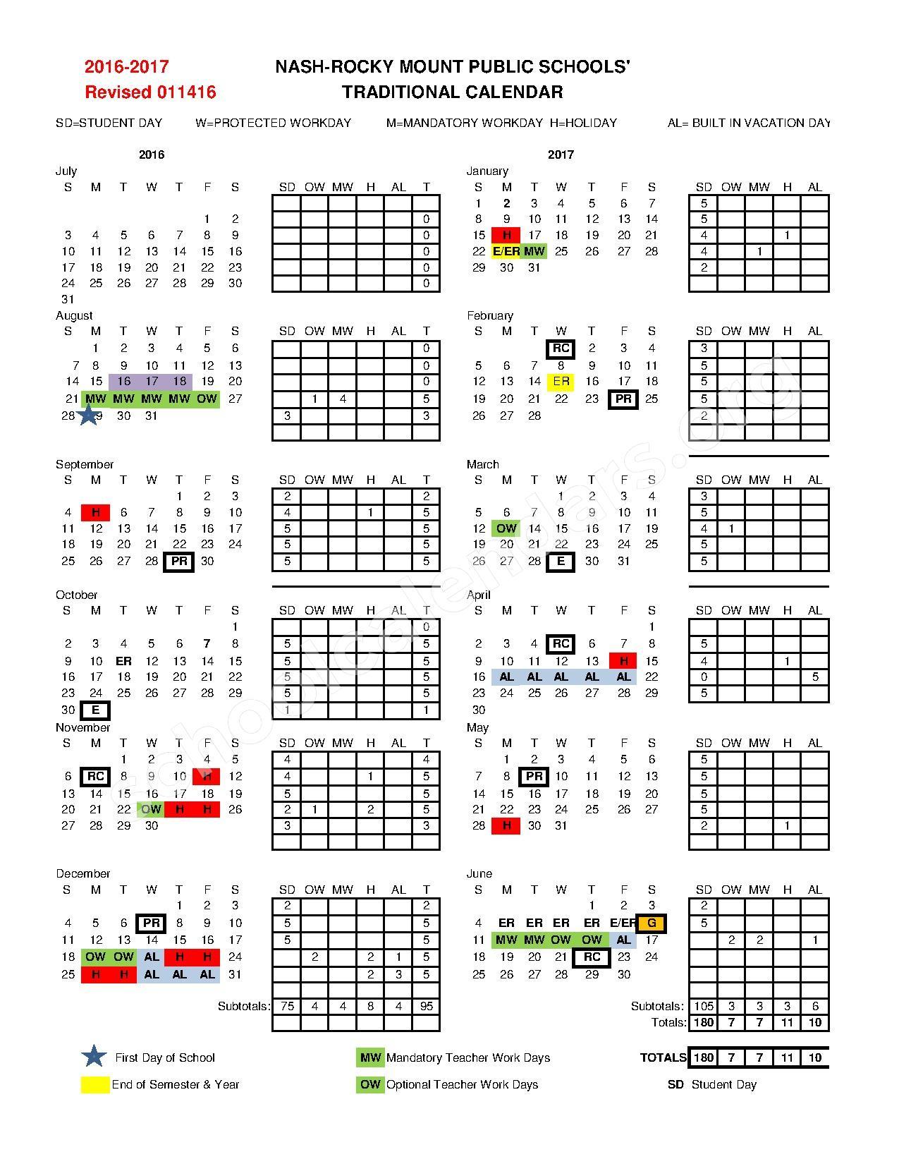 2016 - 2017 School Calendar   Nash-Rocky Mount Public